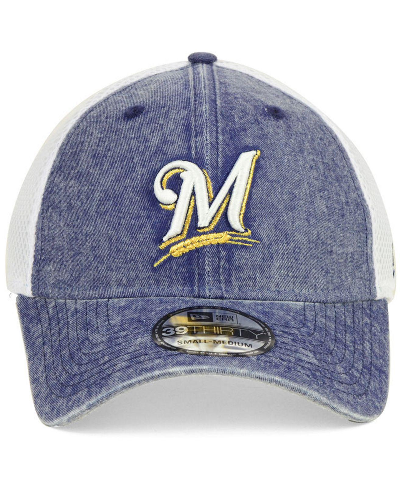 save off b8c2a ed436 ... new zealand lyst ktz milwaukee brewers hooge neo 39thirty cap in blue  for men 85c90 b6e21