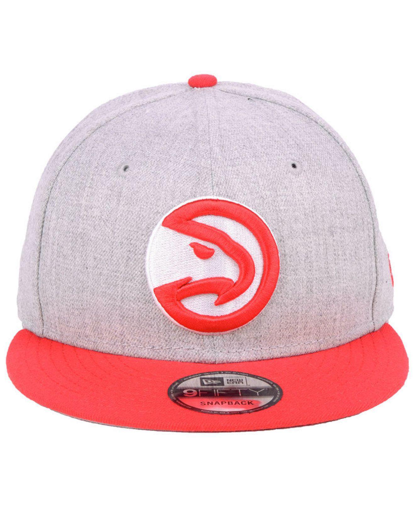 best loved af345 ac2ea hot lyst ktz atlanta hawks heather gray 9fifty snapback cap in red for men  41e89 921b3