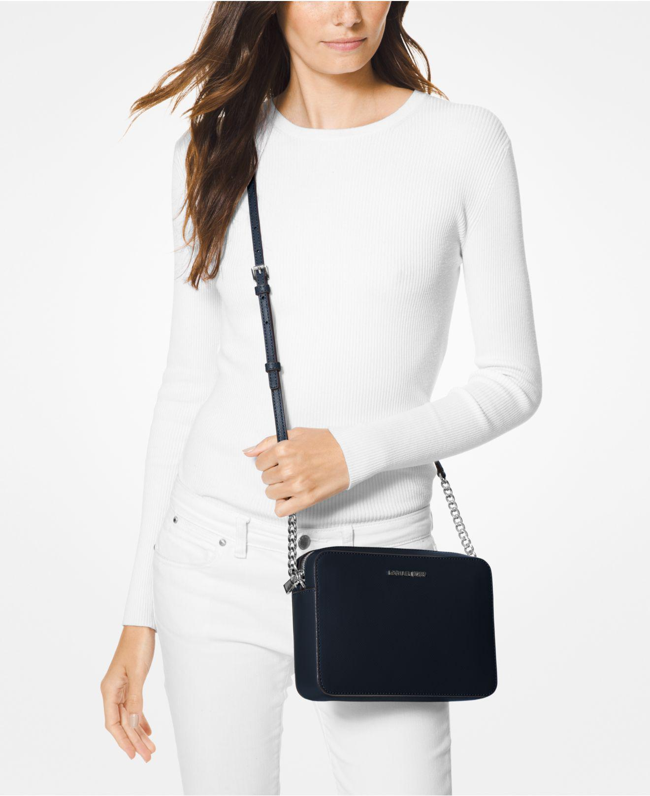 123c6fc81 Michael Kors Michael Jet Set East West Crossgrain Leather Crossbody - Lyst