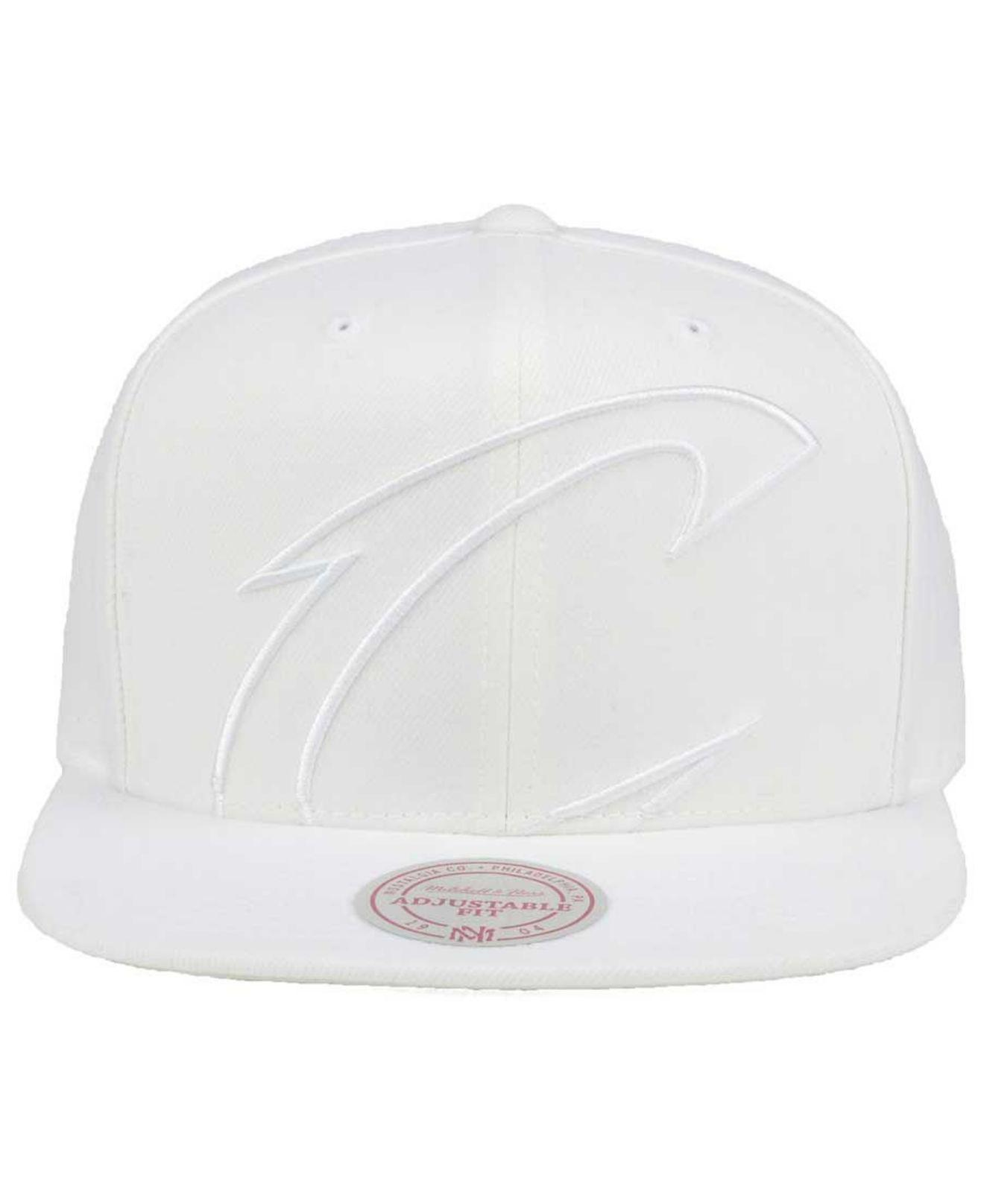 3fff2888a0308 buy lyst mitchell ness cleveland cavaliers cropped xl logo snapback cap in  white for men c9b70