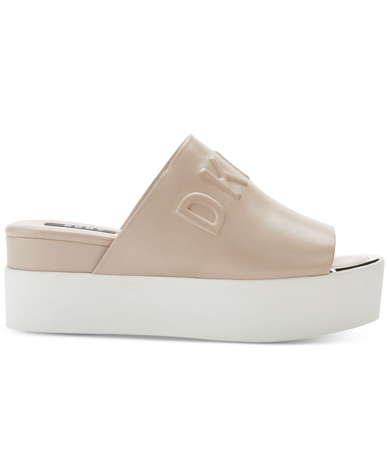 DKNY Denim Covo Platform Slide Sandals