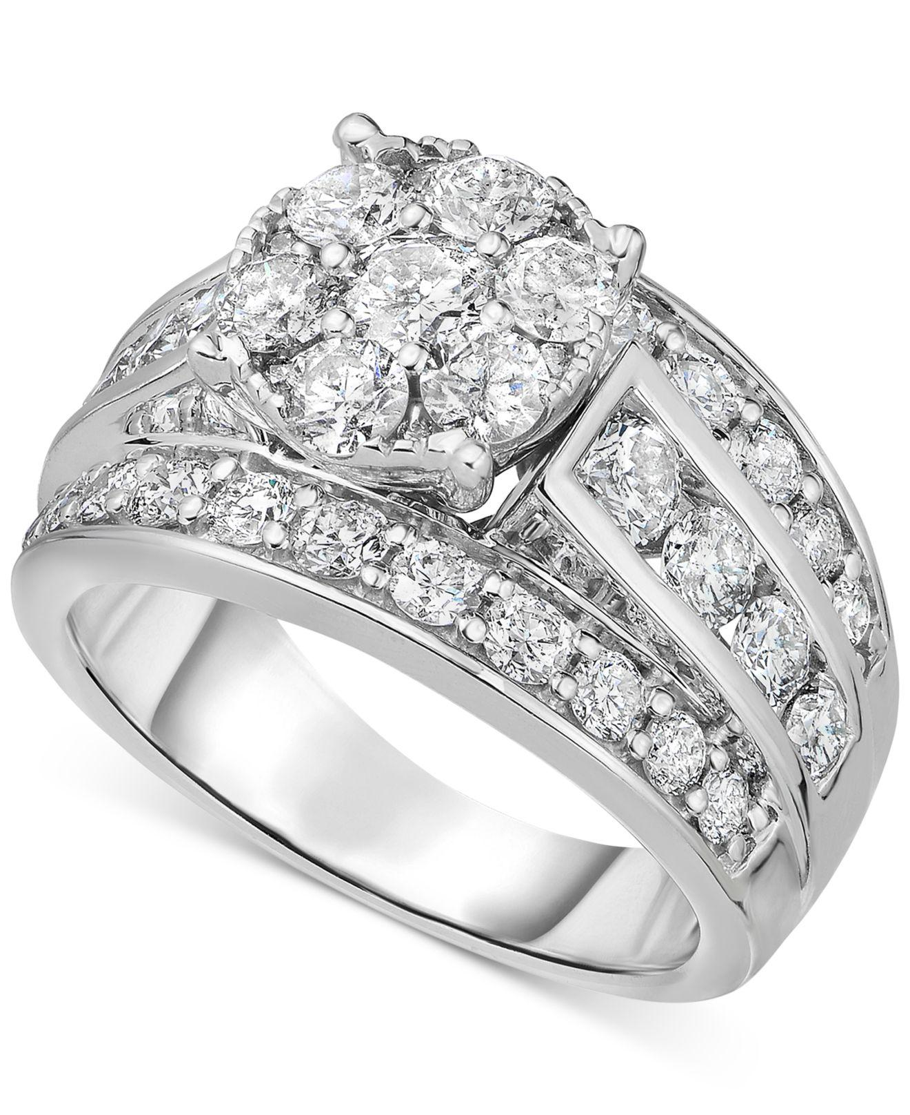 Macy's Diamond Cluster Engagement Ring (3 Ct. T.w.) In 14k