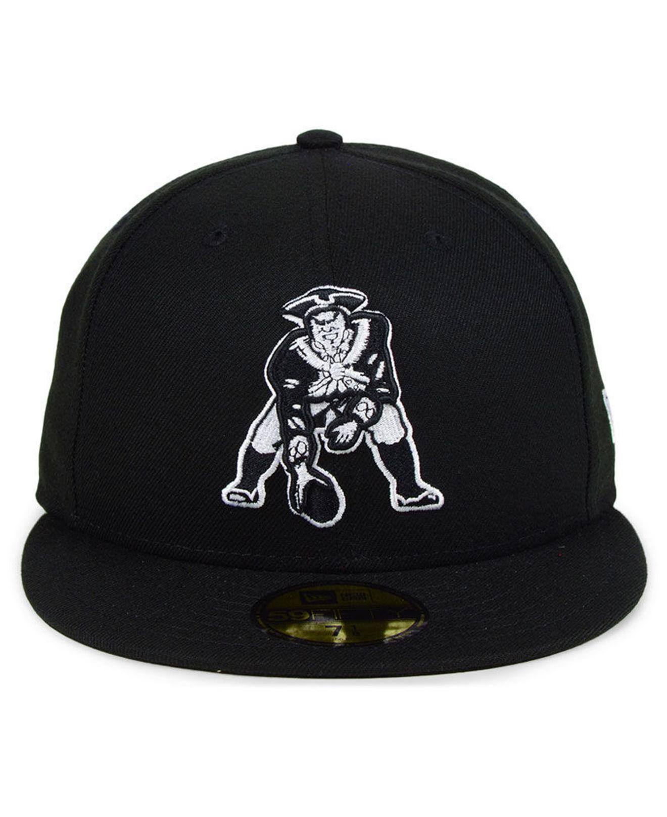 bdb9b1db0c6 Lyst - KTZ New England Patriots Black And White 59fifty Fitted Cap in Black  for Men