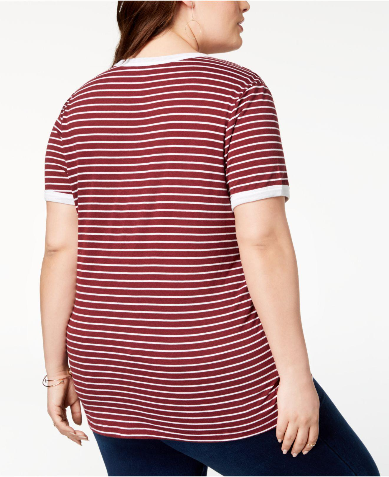 Disney Red Plus Size Striped Mickey & Minnie Mouse T-shirt