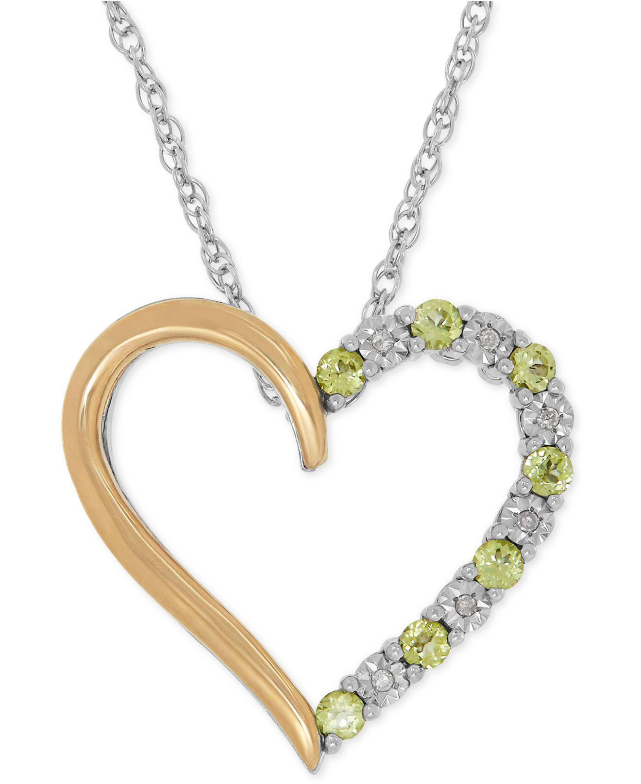 Lyst macys peridot 13 ct tw and diamond accent heart diamond accent heart view fullscreen aloadofball Image collections