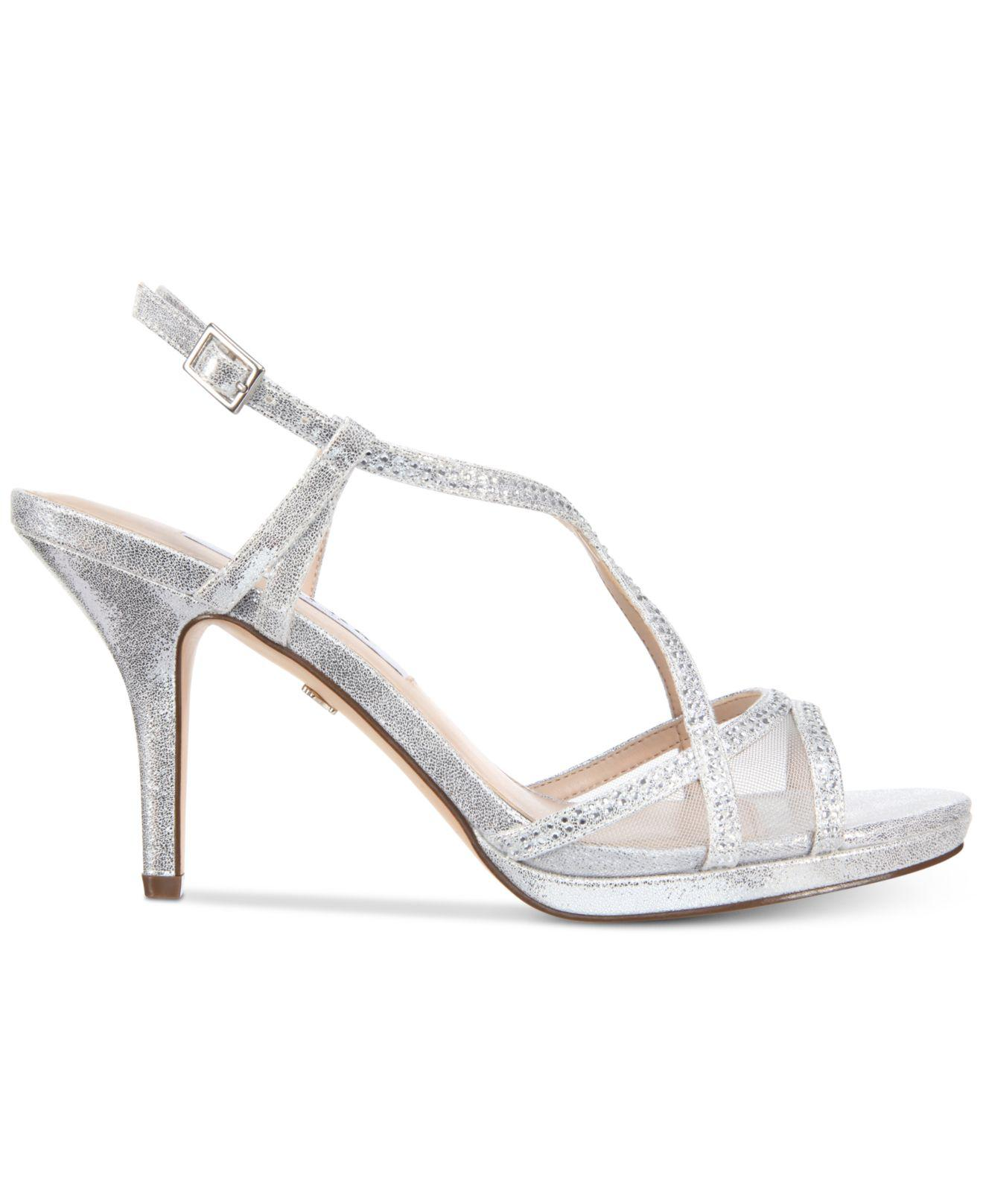 617f15f0200 Lyst - Nina Blossom Strappy Embellished Evening Sandals in Metallic