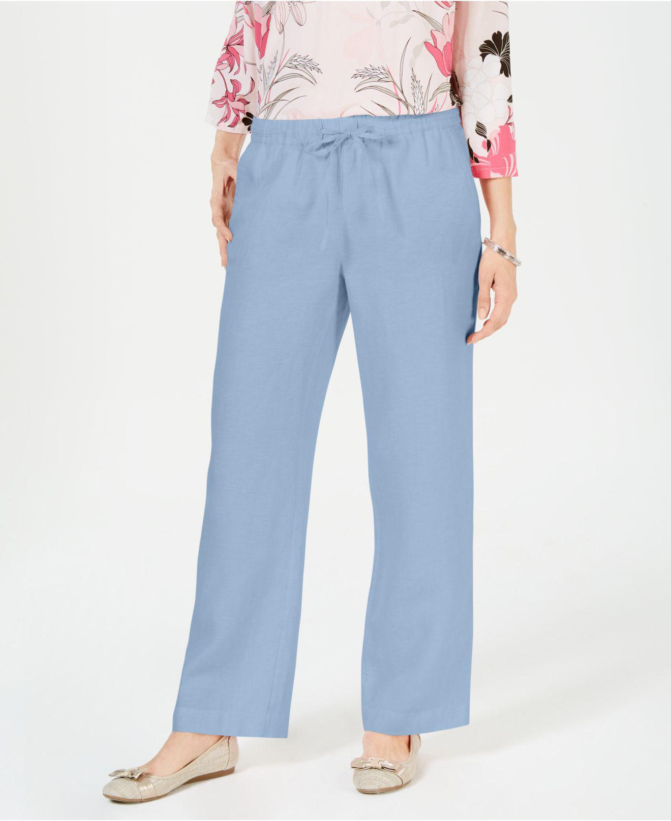 238ee760fbf96 Lyst - Charter Club Linen Petite Drawstring Pants