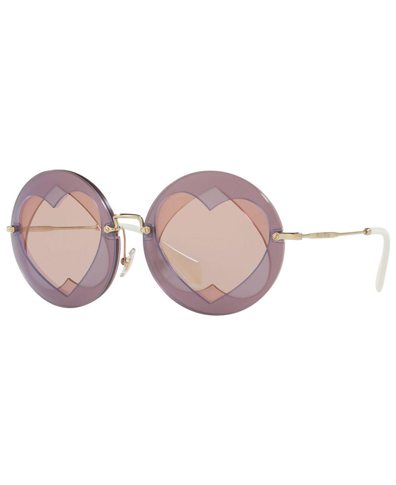 1e2af323c38d4 Lyst - Miu Miu Sunglass Mu 01ss 62 in Pink
