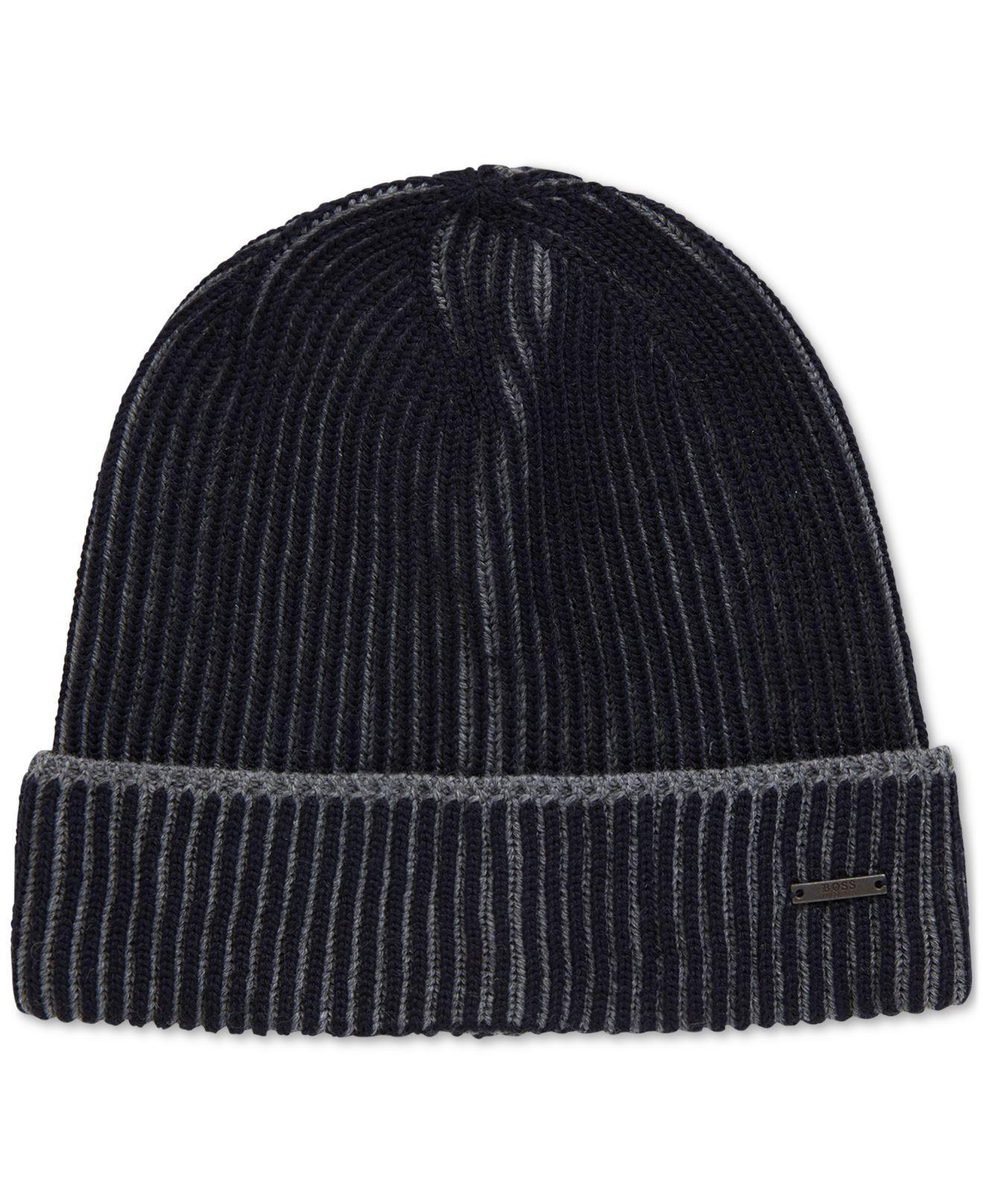 c3d31d7a9f6 Lyst - BOSS Knitted Virgin Wool Beanie Hat in Blue for Men