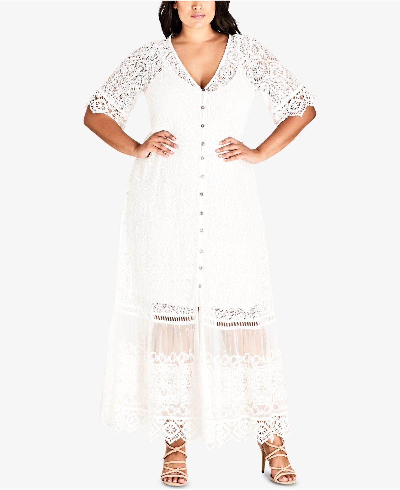 631fc1dd7b7 Lyst - City Chic Trendy Plus Size Lace Maxi Dress in White