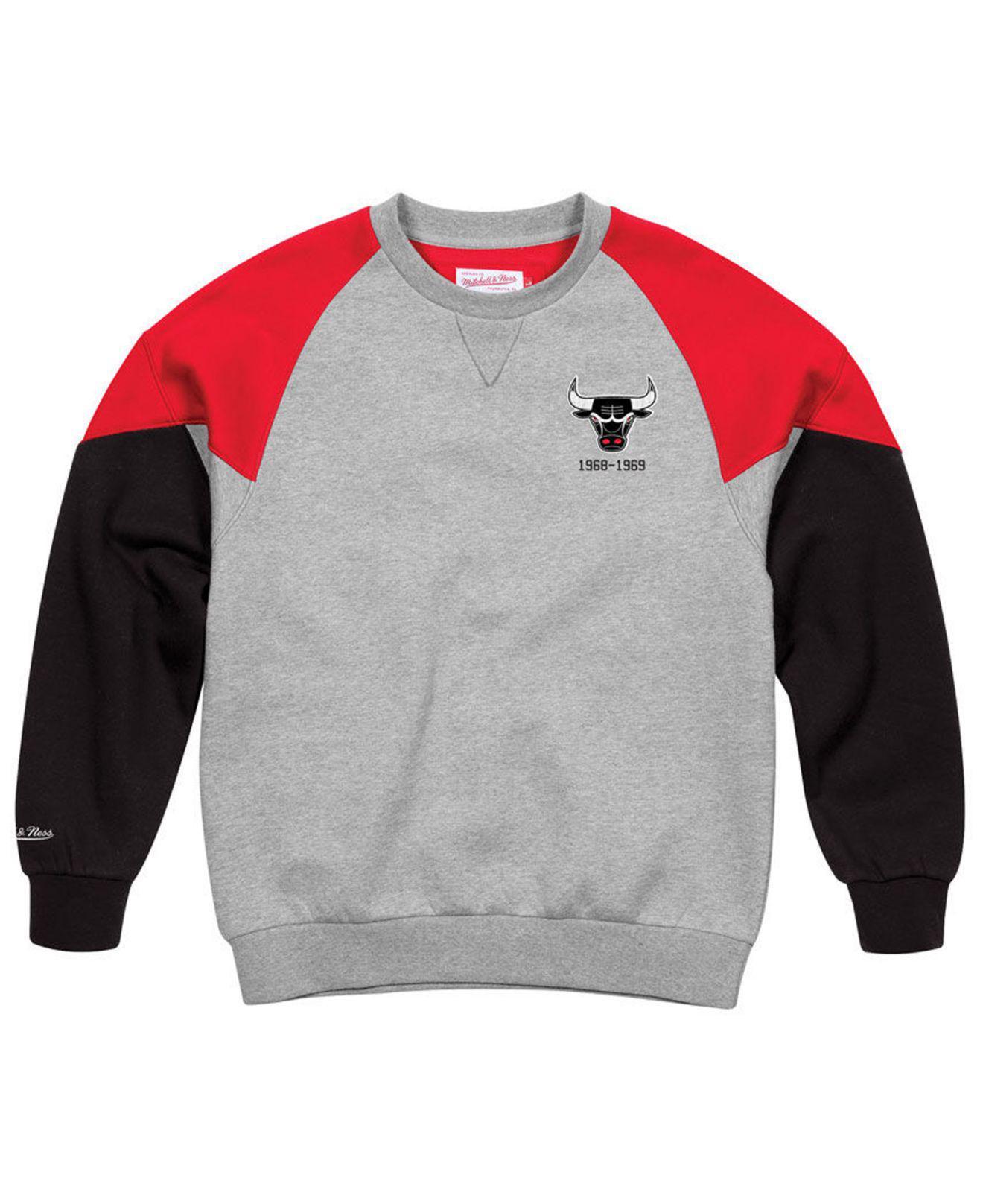 Mitchell /& Ness Chicago Bulls Trading Block Crew Sweatshirt Grey CBU FKC