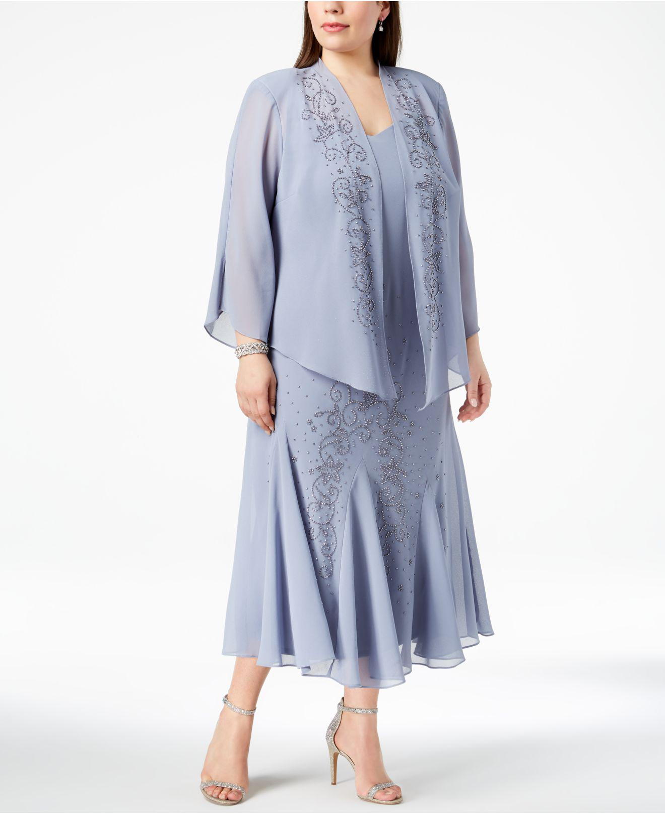 2885e632d8b89 R   M Richards. Women s Blue R m Richards Plus Size Beaded V-neck Dress And  Jacket