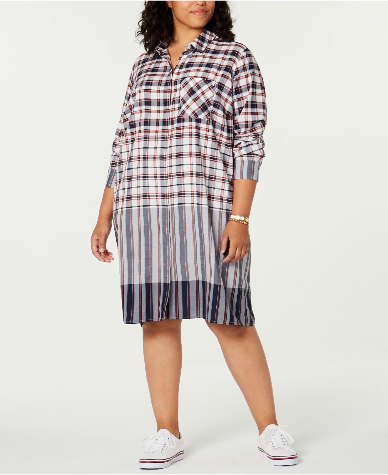 Women\'s Plus Size Plaid Shirtdress, Created For Macy\'s