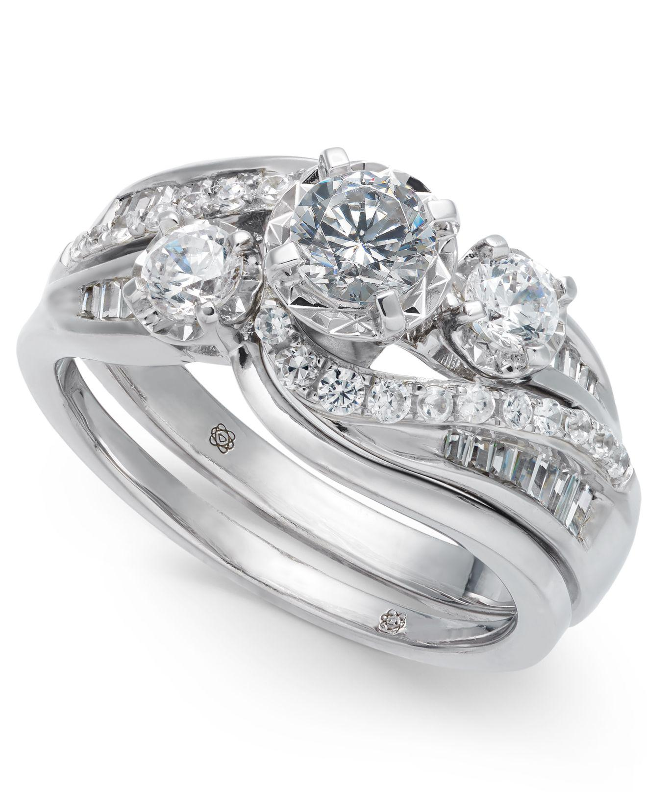 Macy s Diamond Swirl Bridal Set 1 Ct T w In 14k White Gold in