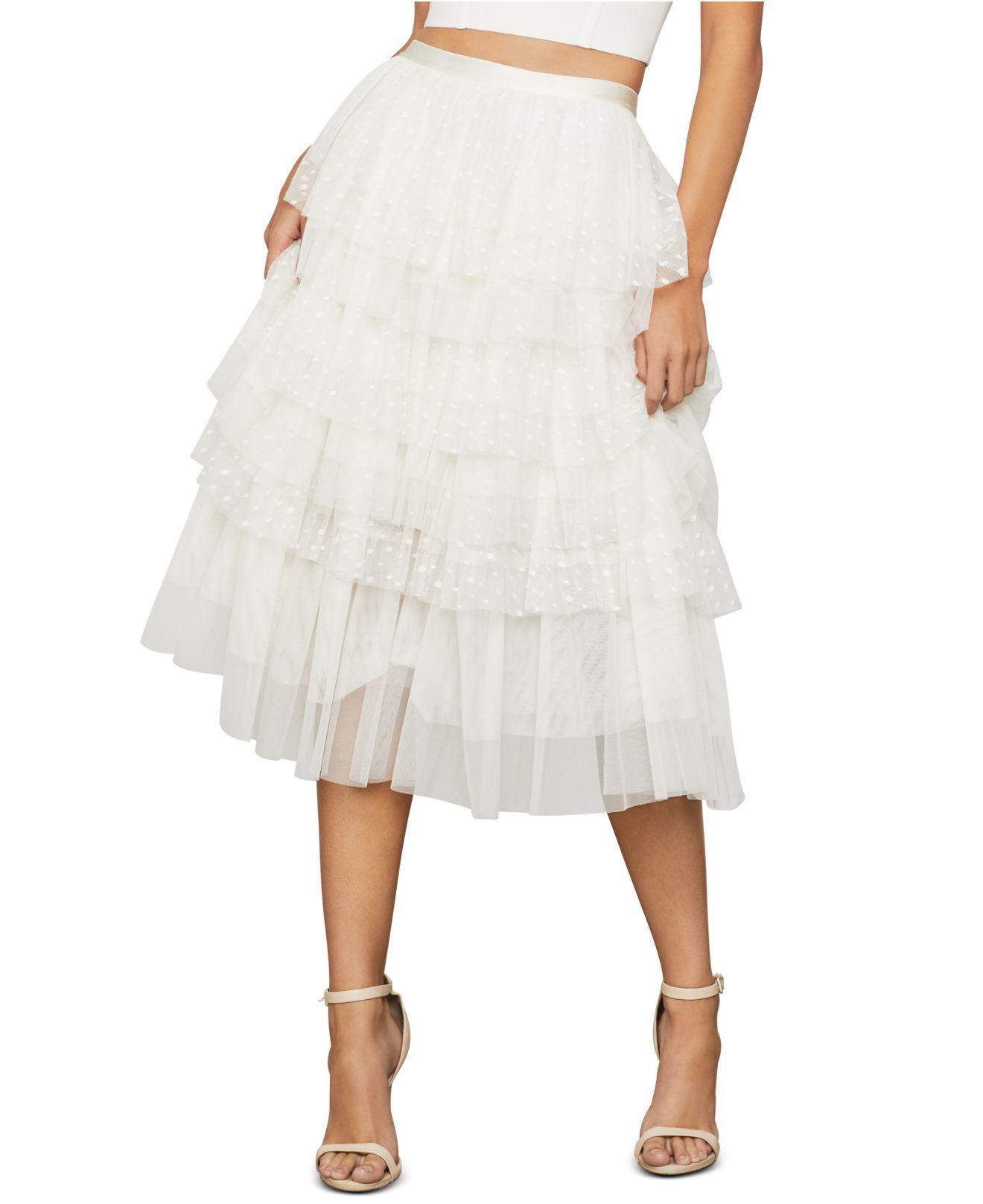 BCBGMAXAZRIA Womens Tiered Ruffle Stripe Skirt