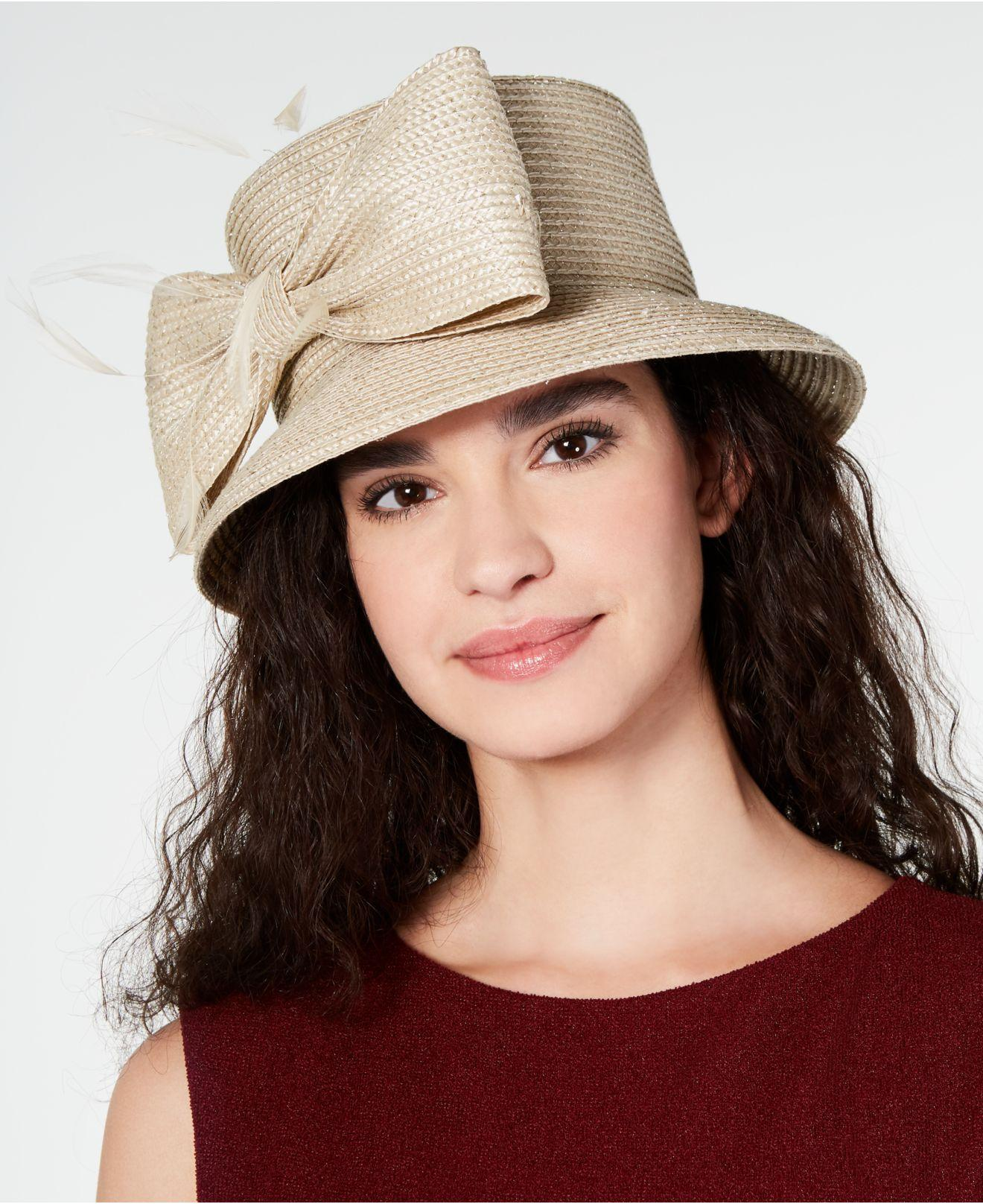 efb70441fb988 Lyst - August Accessories Metallic Bow Cloche