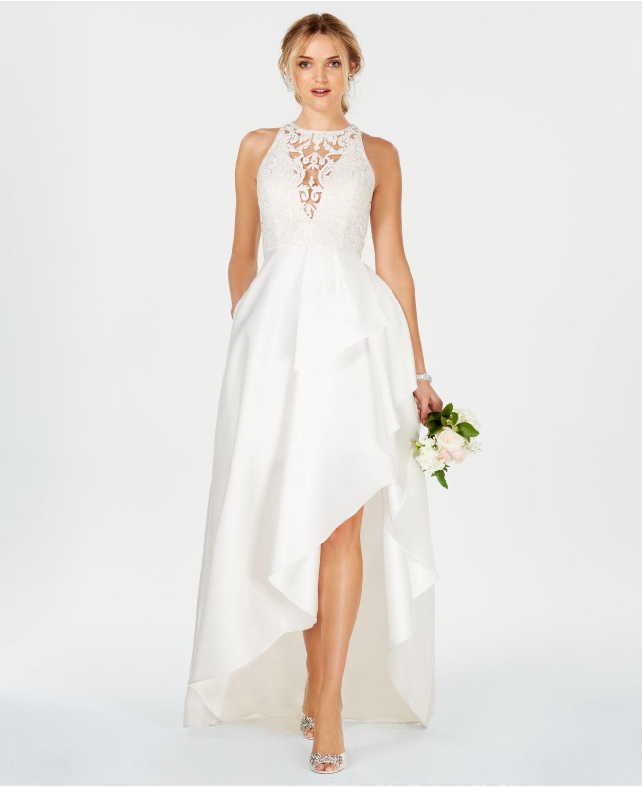 Lyst - Adrianna Papell Embroidered High-low Gown in White