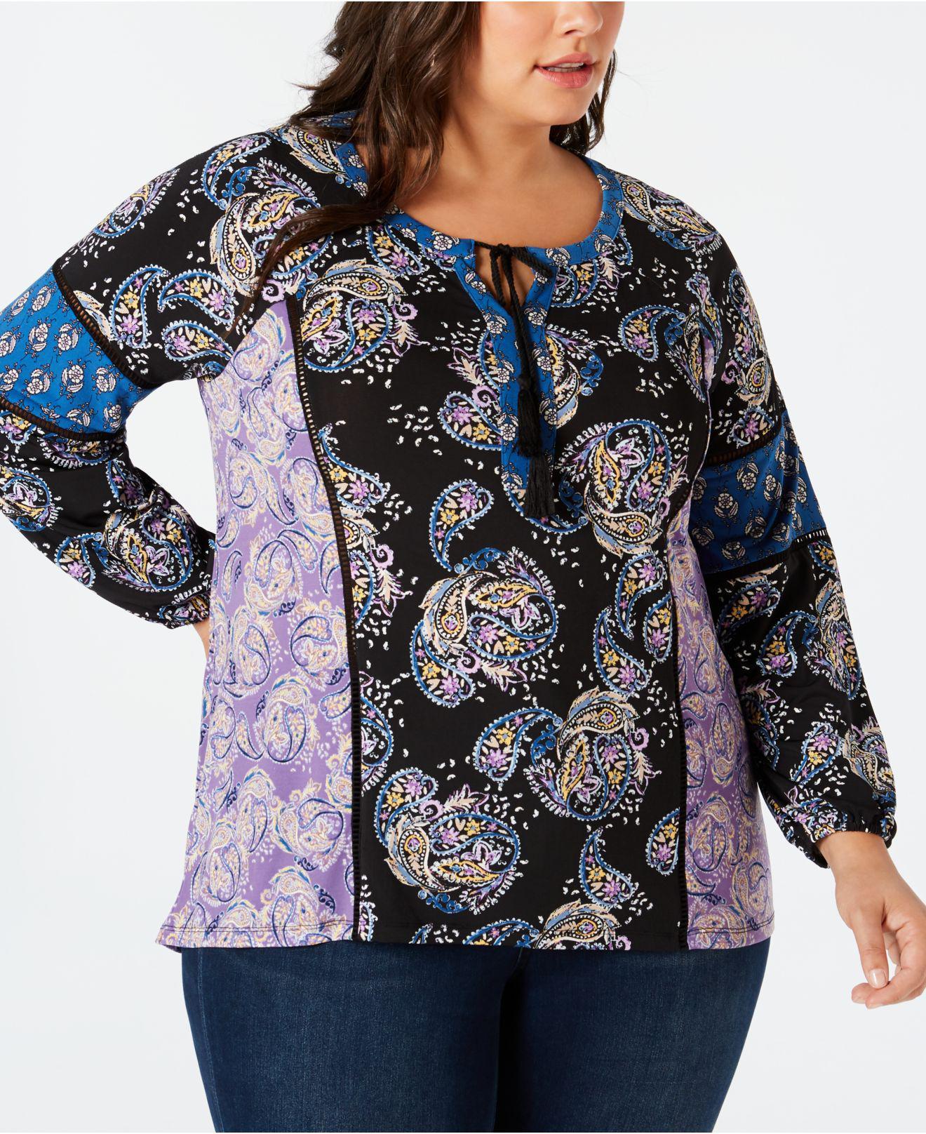 4c0520d457798 Style   Co. Women s Plus Size Paisley-print Peasant Top ...