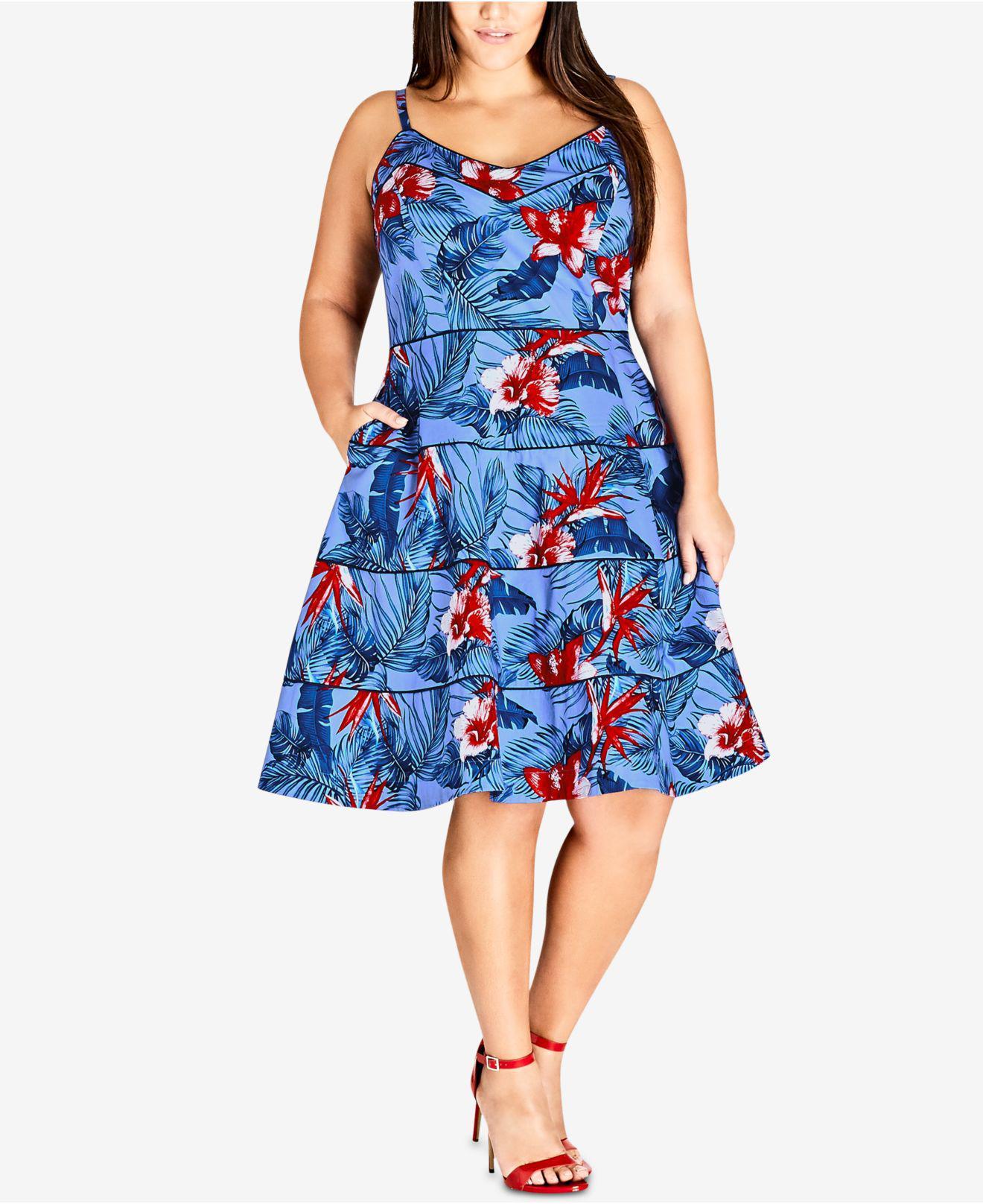 b8a9ea78fd1 City Chic. Women s Blue Trendy Plus Size Tropical-print Fit   Flare Dress