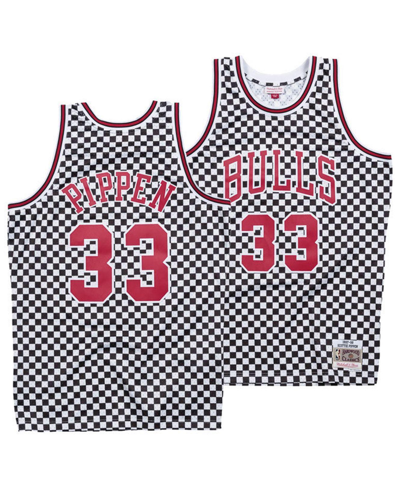 best website 0d620 3c16b Men's Red Scottie Pippen Chicago Bulls Checkerboard Swingman Jersey
