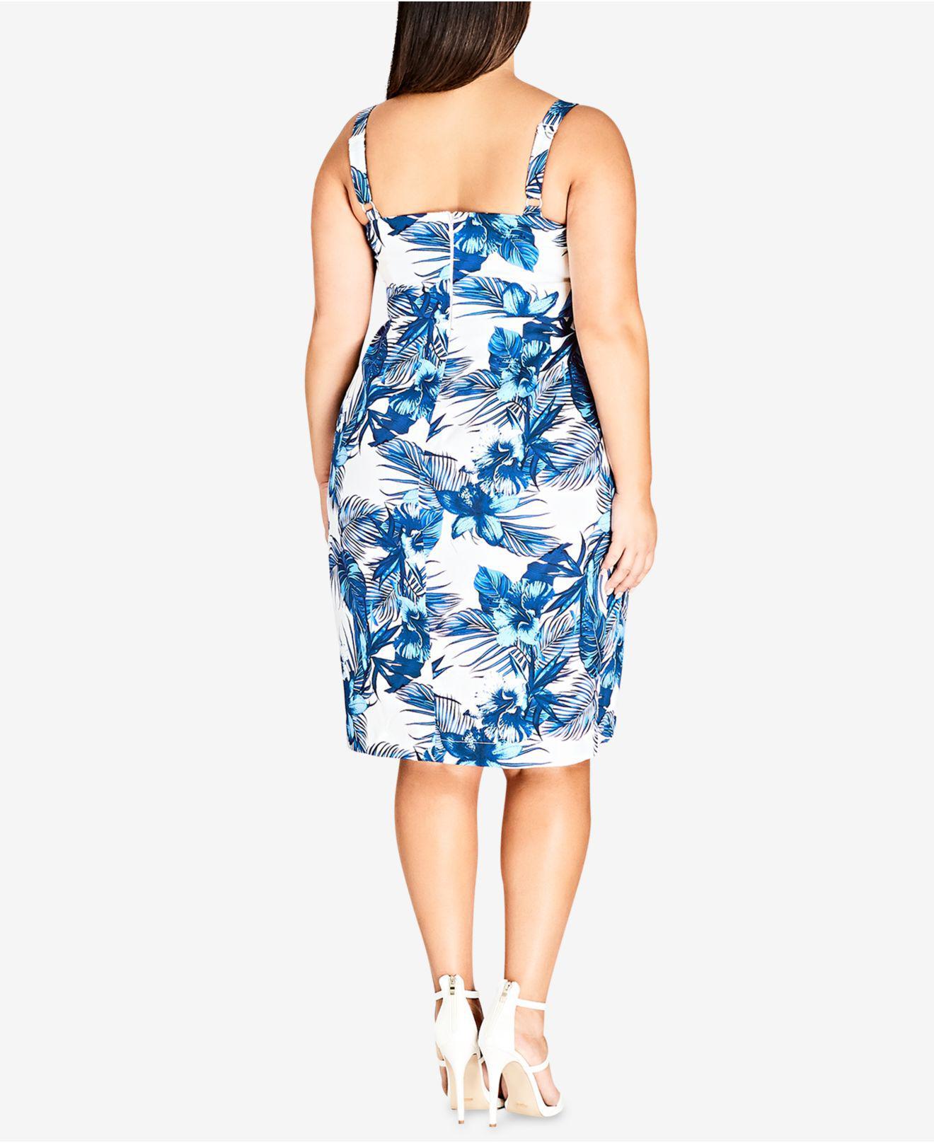 Women\'s Blue Trendy Plus Size Aloha Hawaii Dress