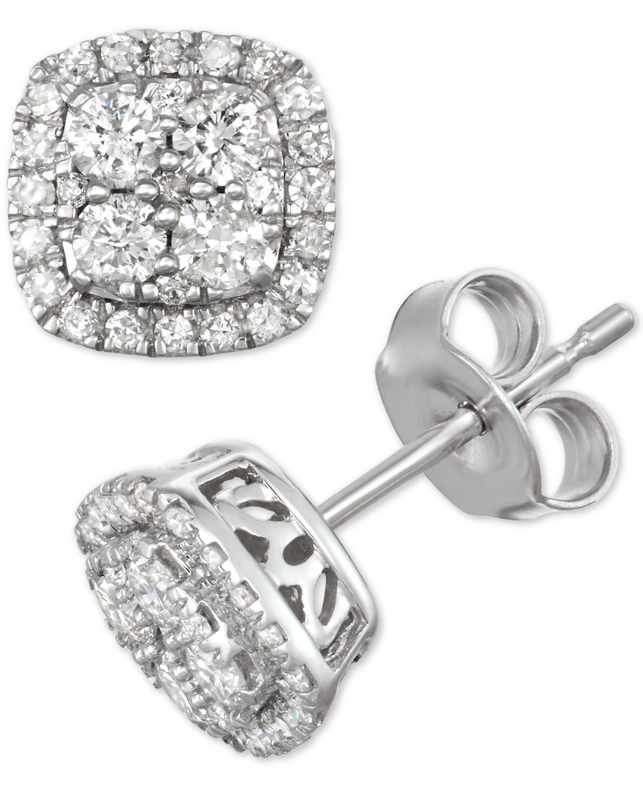 cad8dbd9f Lyst - Macy's Diamond Halo Stud Earrings (1/2 Ct. T.w.) In 14k White ...