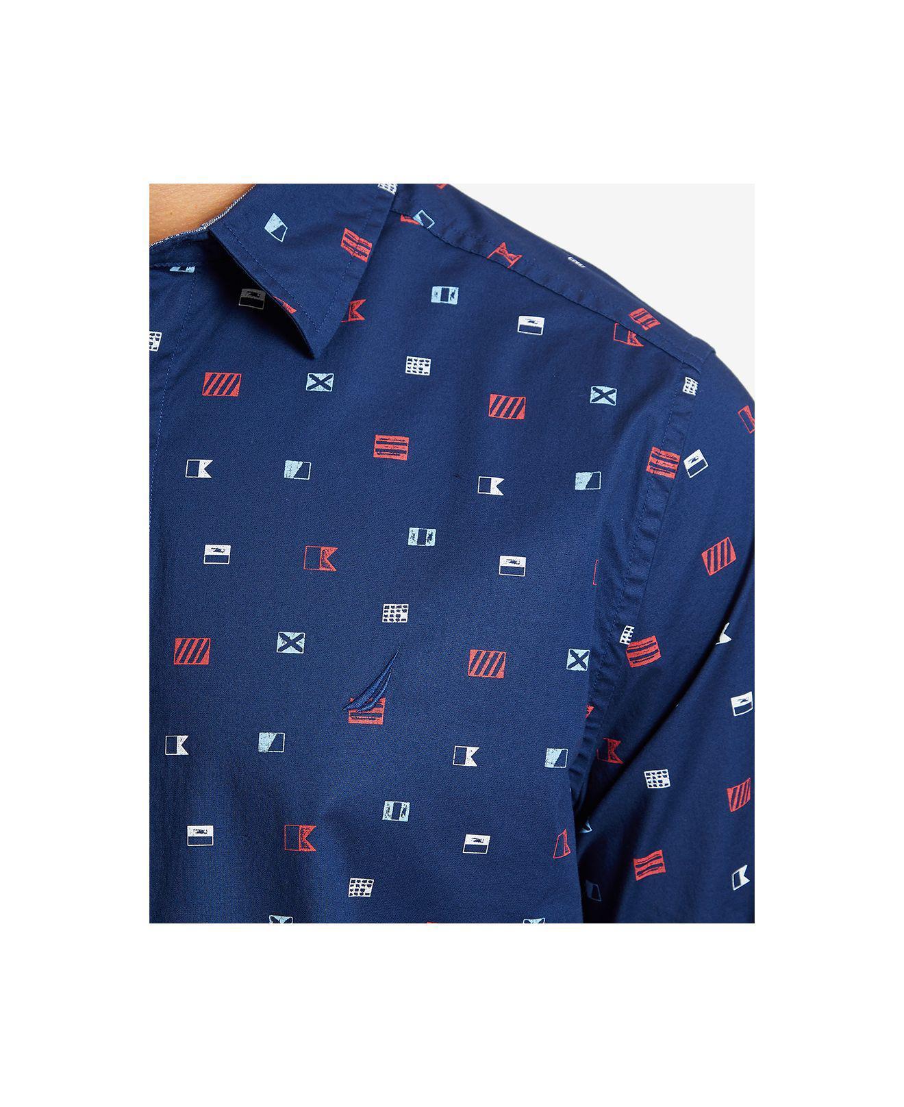 Nautica Mens Stretch Long Sleeve Mini Flagprint Button Down Shirt