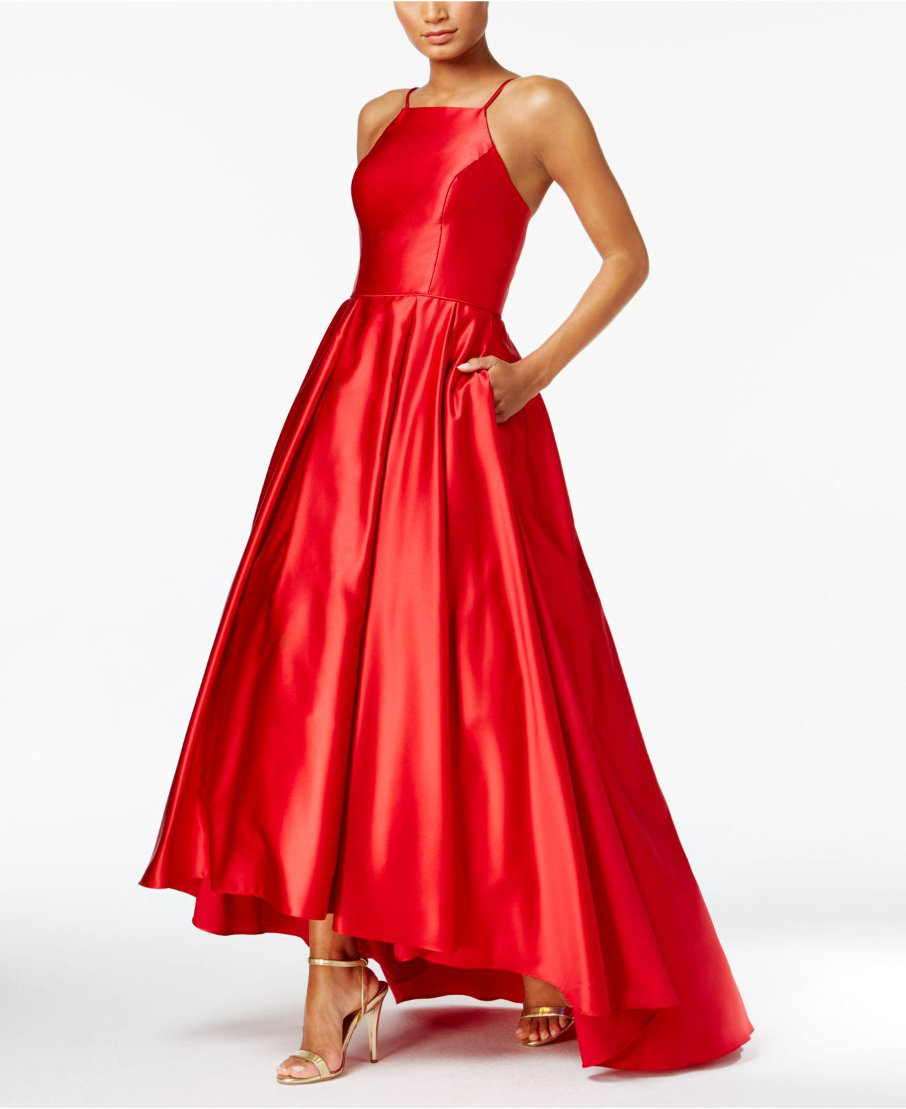 a27e789088aaa Lyst - Betsy   Adam High-low Satin Gown in Red