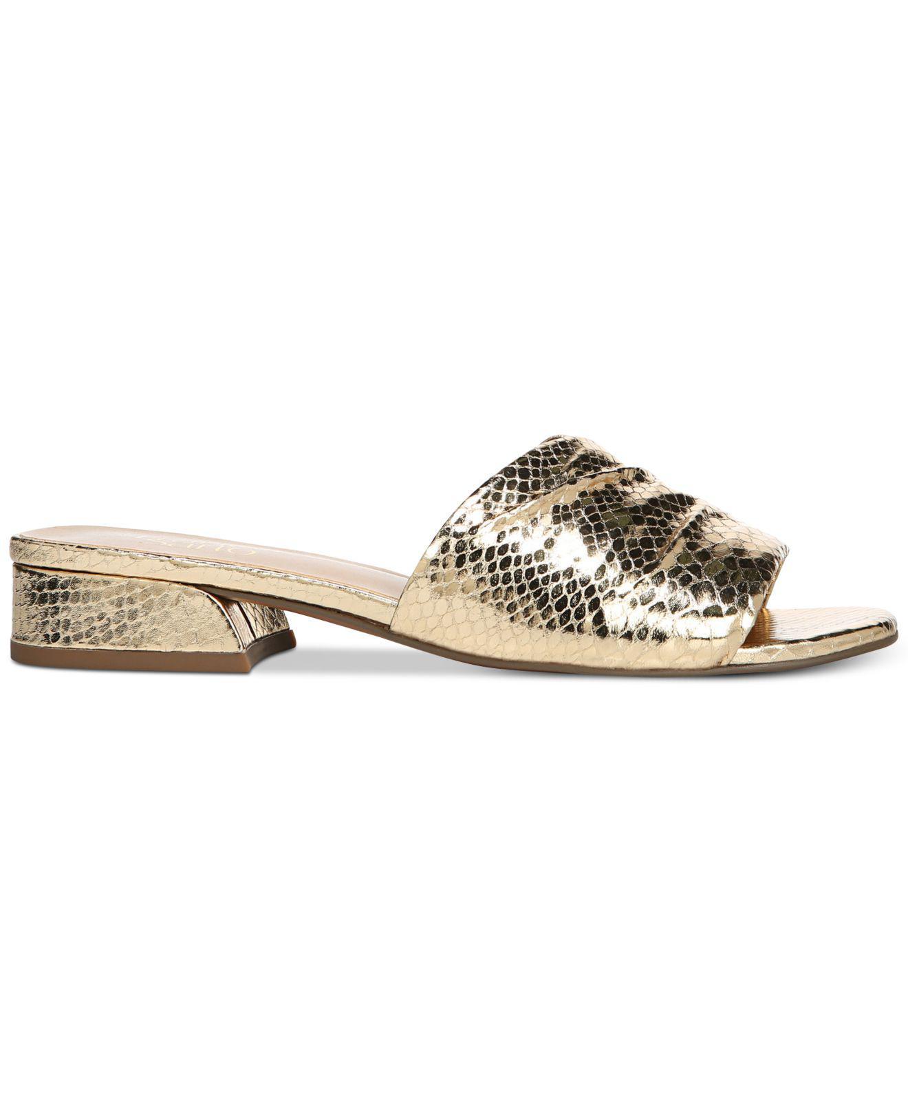 Franco Sarto Frisco Metallic Shiny Snake Print Block Heel Slides aj2gFmVv