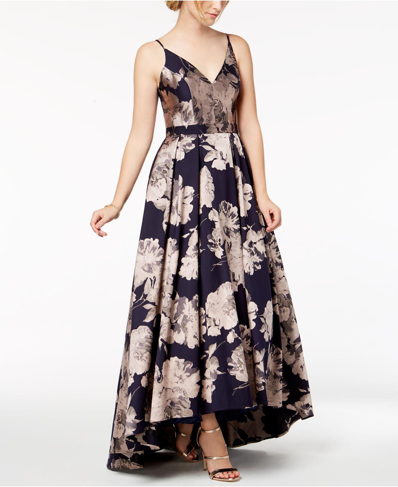 Lyst - Xscape Floral-brocade Ball Gown in Blue