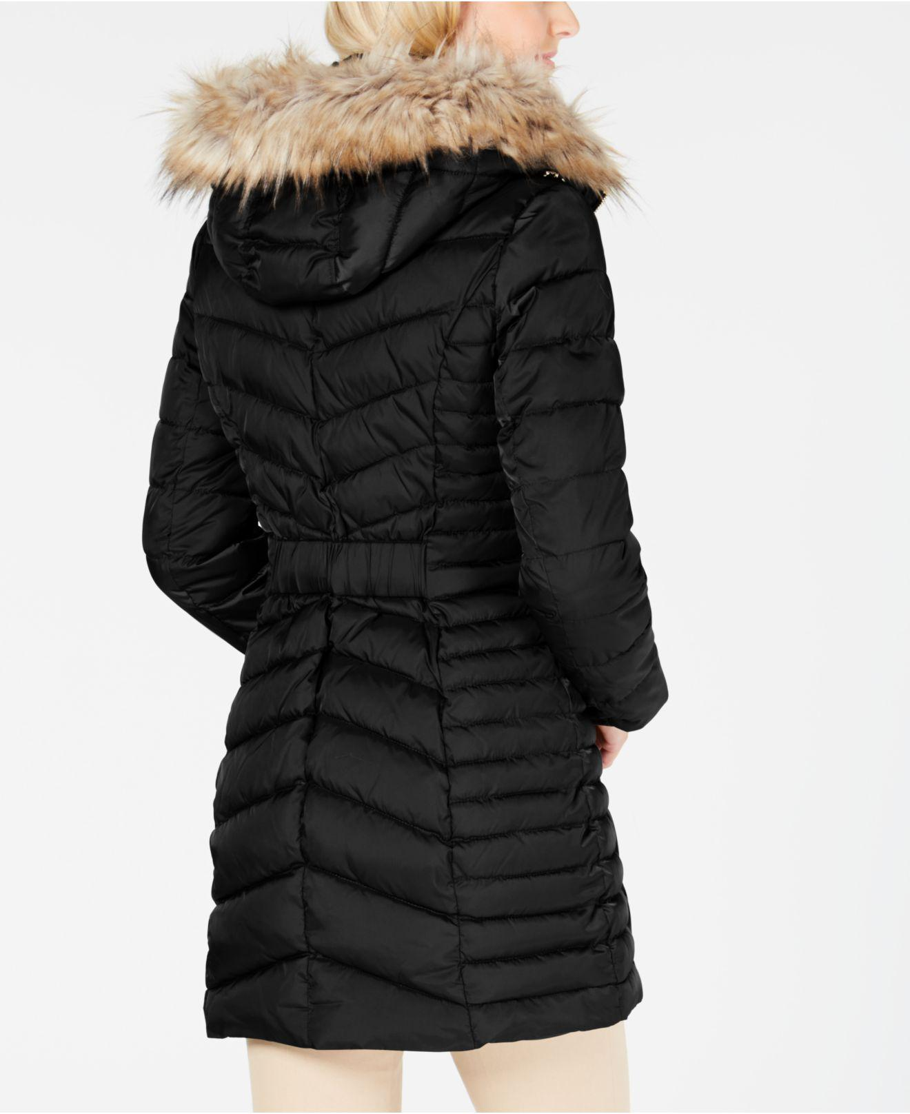 5007a0622 Laundry by Shelli Segal Faux-fur-trim Hooded Quilted-panel Puffer ...