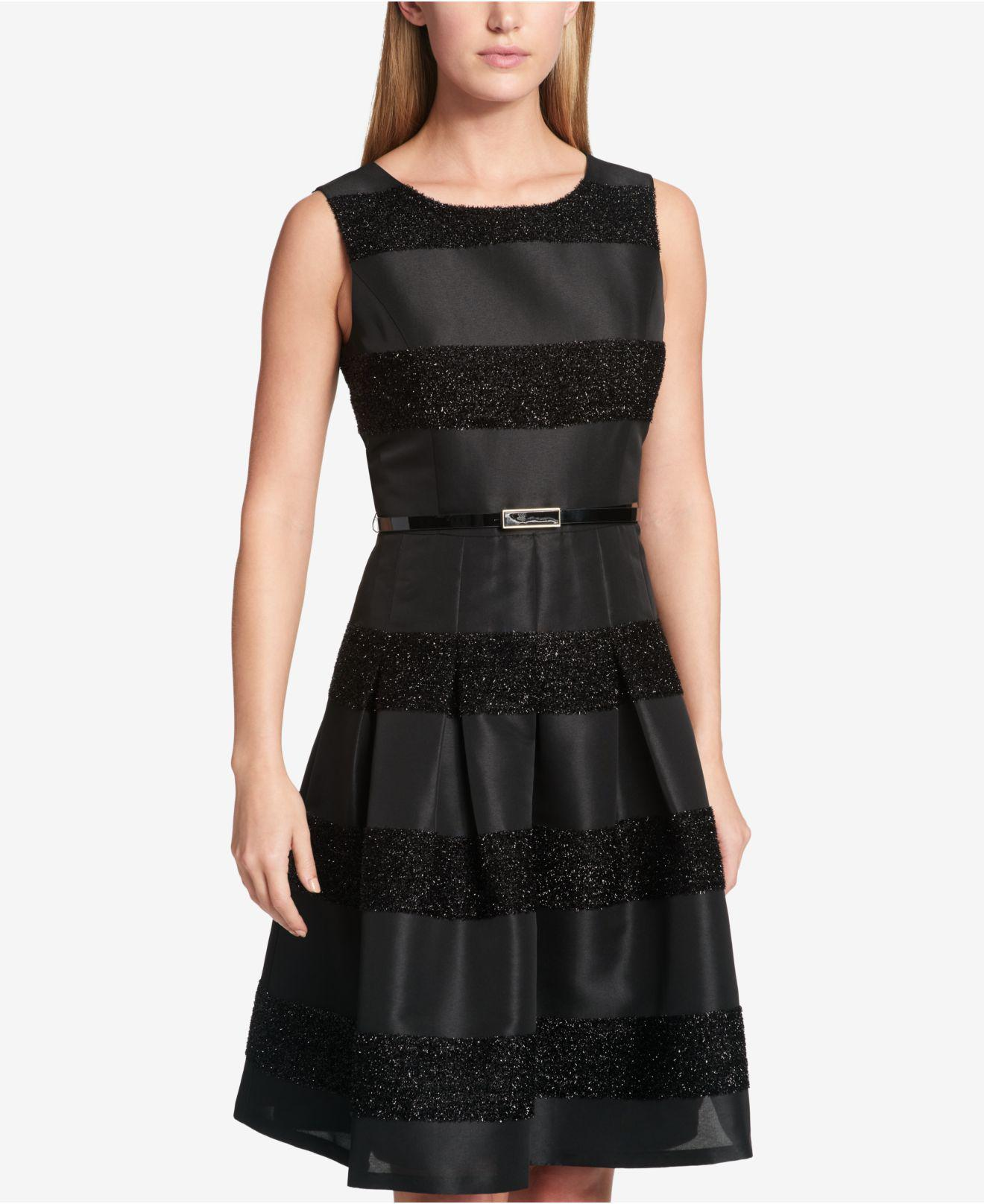 9c9350c292bb Lyst - Tommy Hilfiger Striped Fit   Flare Dress in Black - Save 48%