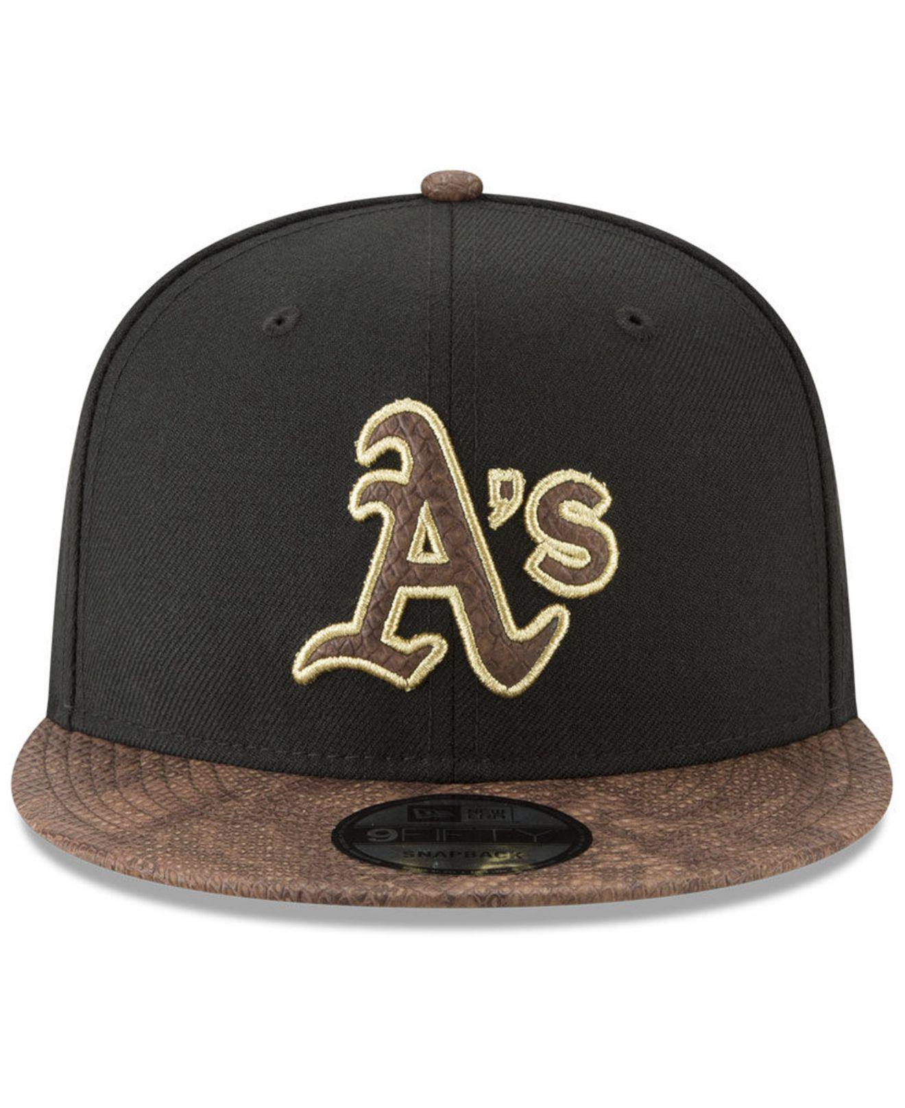 sale retailer b24d3 9a9f0 ... sweden lyst ktz oakland athletics gold snake 9fifty snapback cap in  black for men 0b290 69286