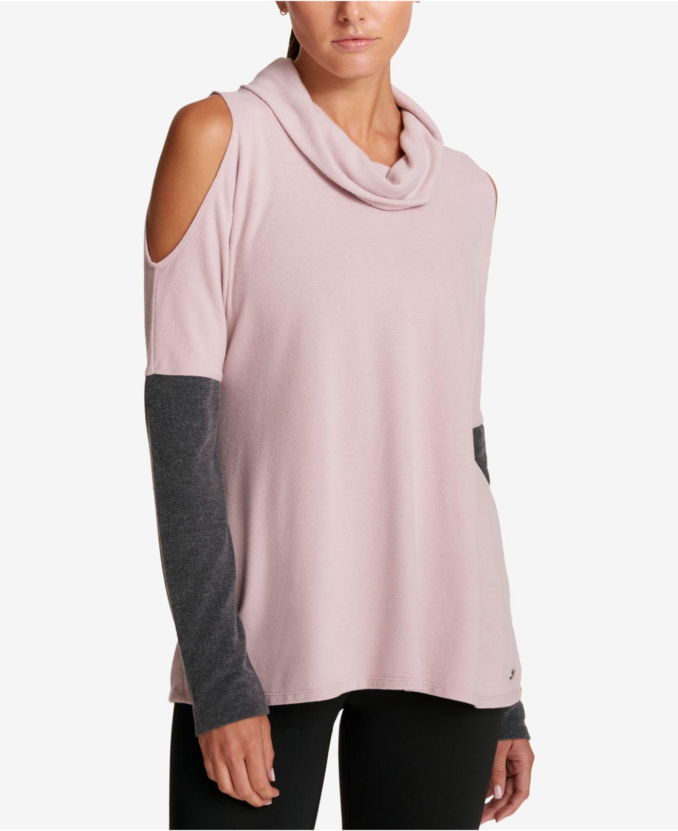 ff9401ca9479a1 Lyst - DKNY Brushed Jersey Cold Shoulder Top in Pink
