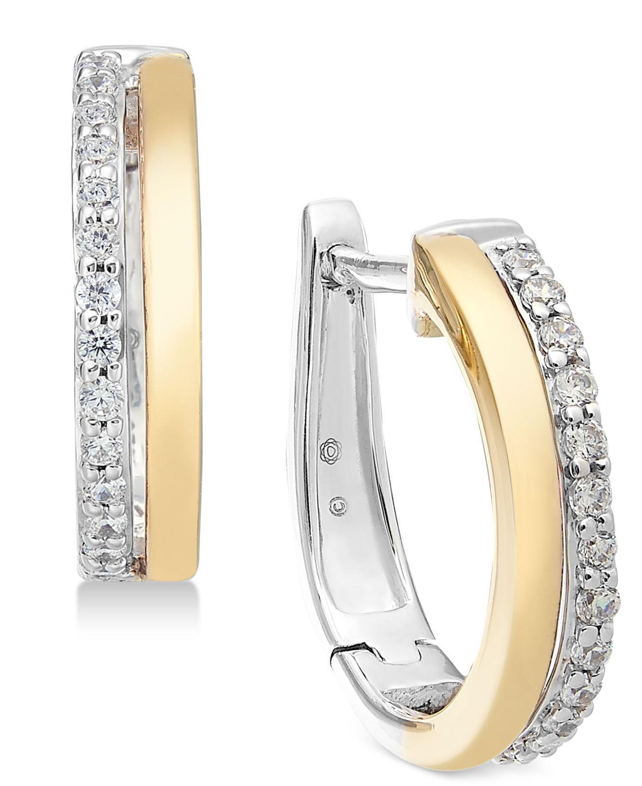 Diamond Two Tone Hoop Earrings 1 4 Ct T W In 14k Gold White