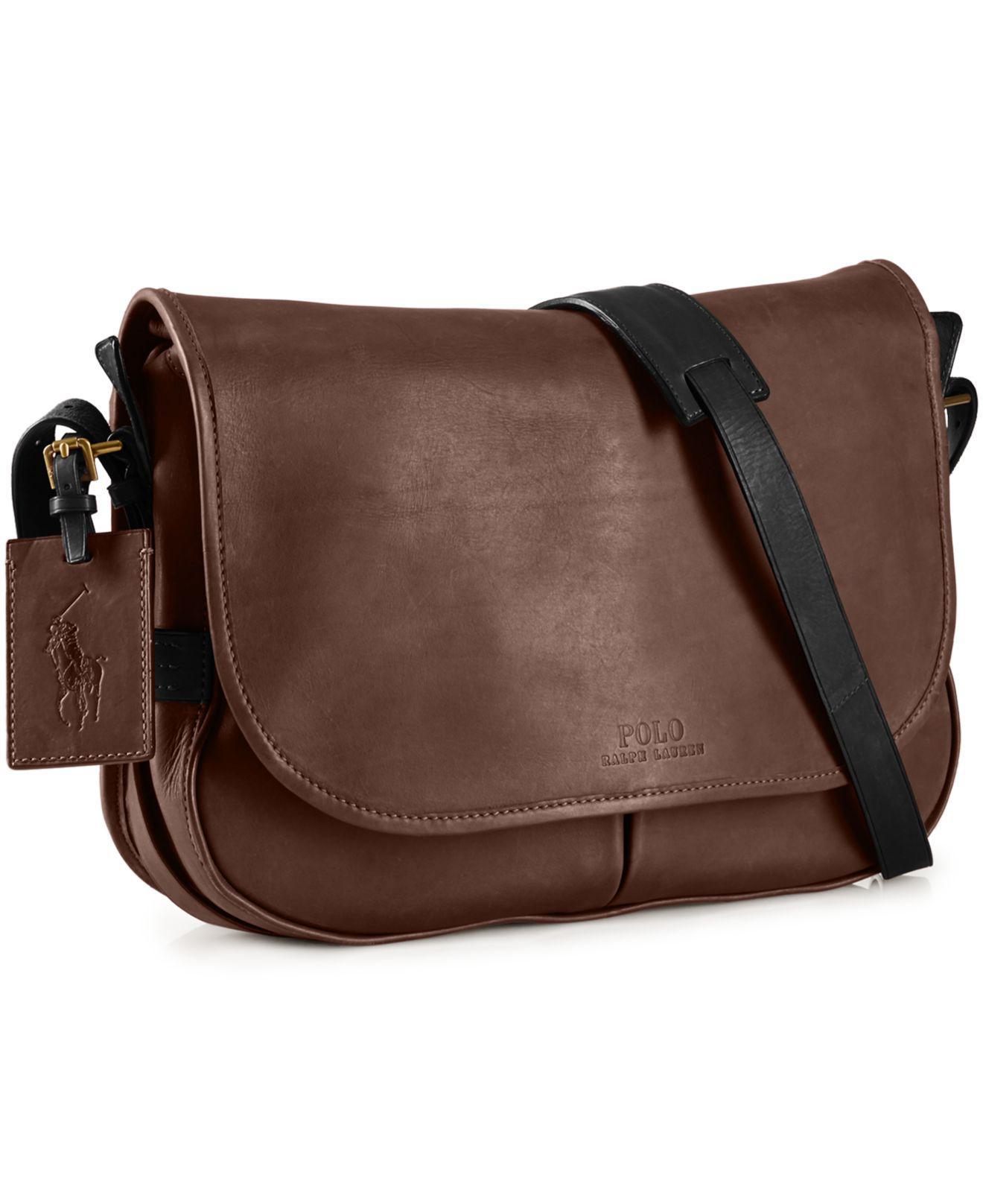 Lyst - Polo Ralph Lauren Two-toned Leather Messenger Bag in Brown ... 97d017fb45599