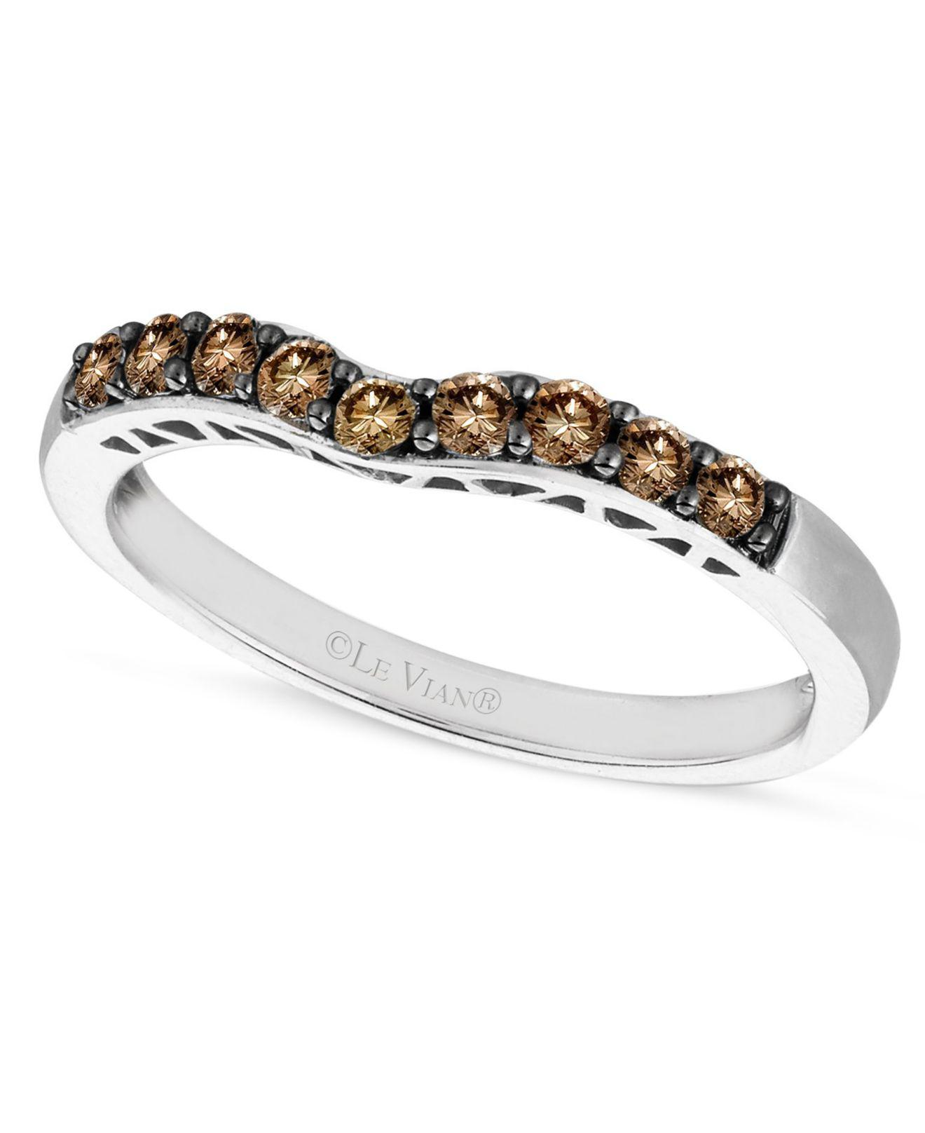 7c10000d1a812 Women's Brown Chocolate Diamond Wedding Band (1/3 Ct. T.w.) In 14k White  Gold