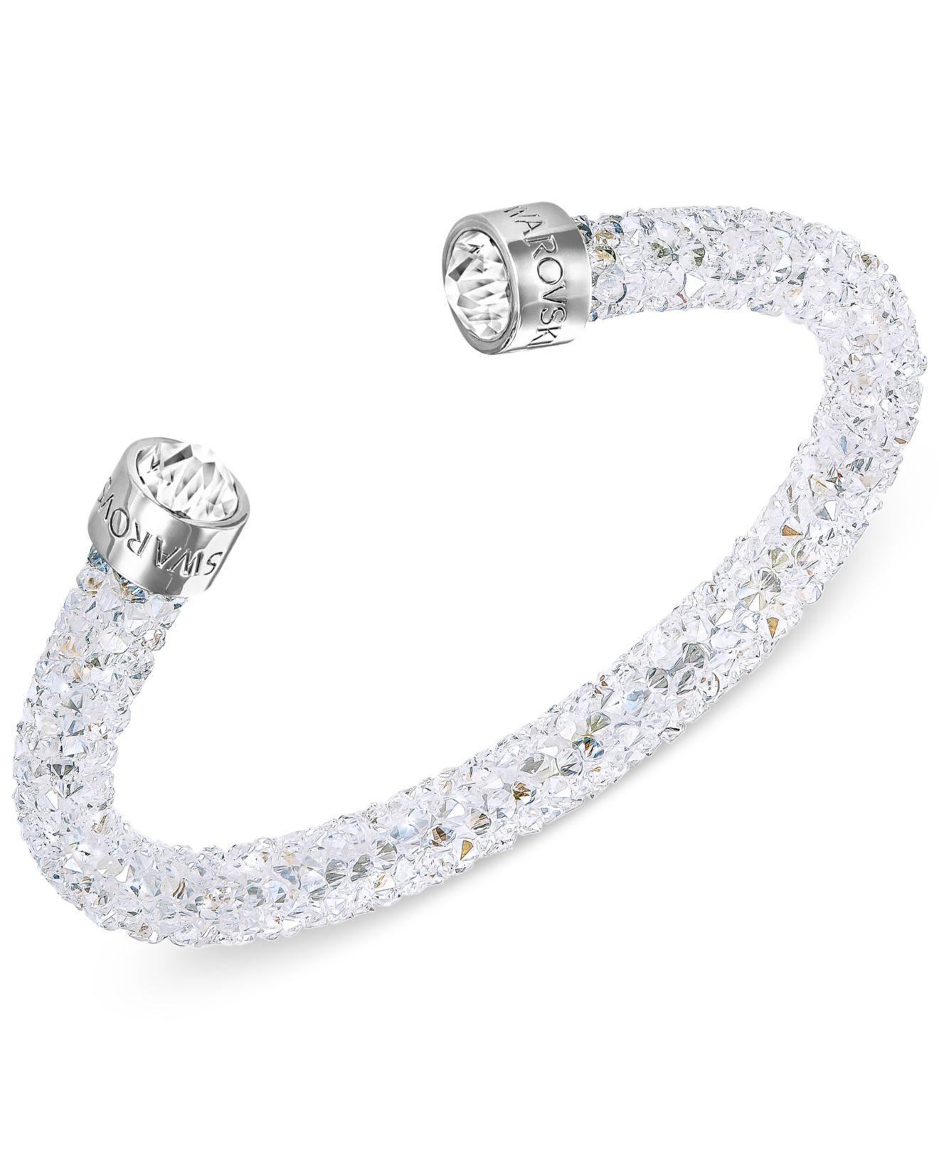 Silver-tone Black Crystal And Crystaldust Open Cuff Bracelet