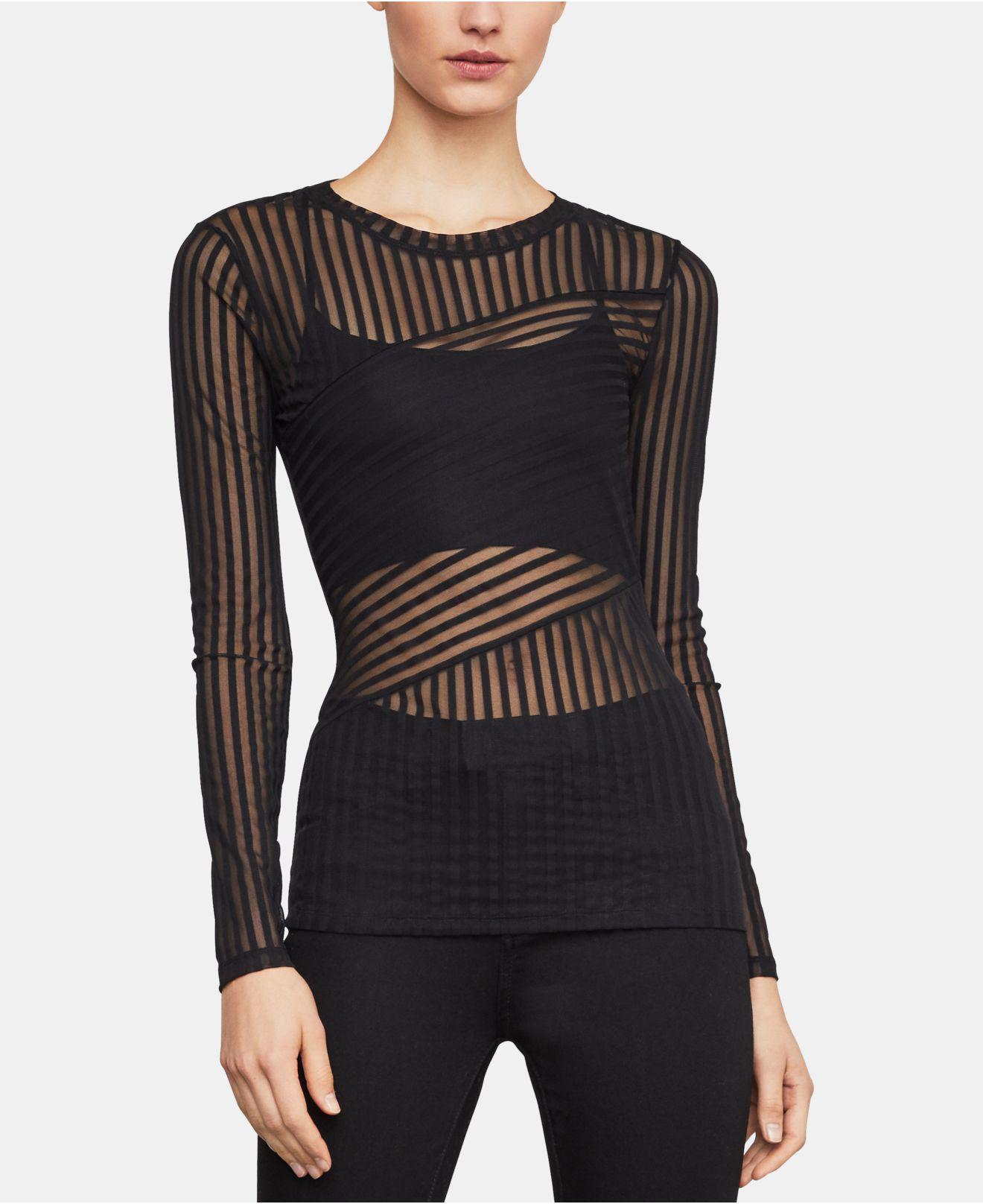 1d7a97987fe92d Lyst - BCBGMAXAZRIA Veira Long-sleeved Striped Top in Black