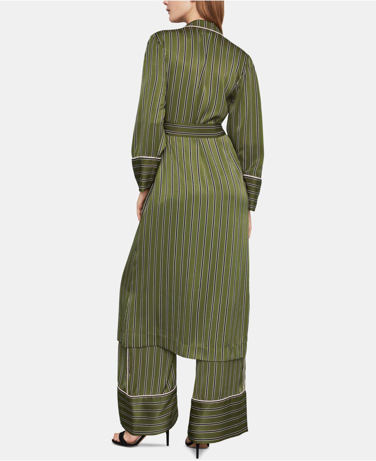 Bcbgmaxazria Striped Satin Robe Jacket In Olive Black Combo Green Lyst