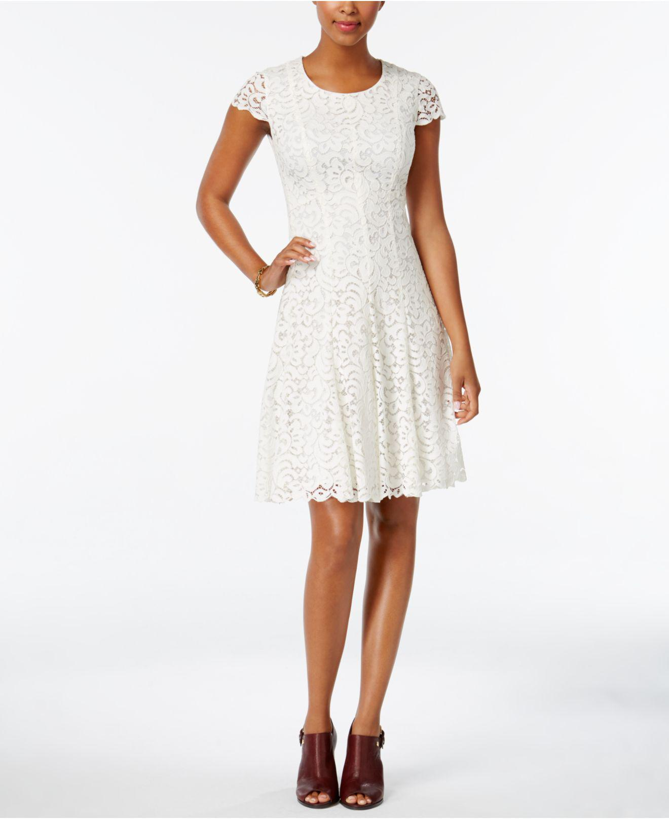 Tommy Hilfiger Lace Fit Amp Flare Dress In White Lyst