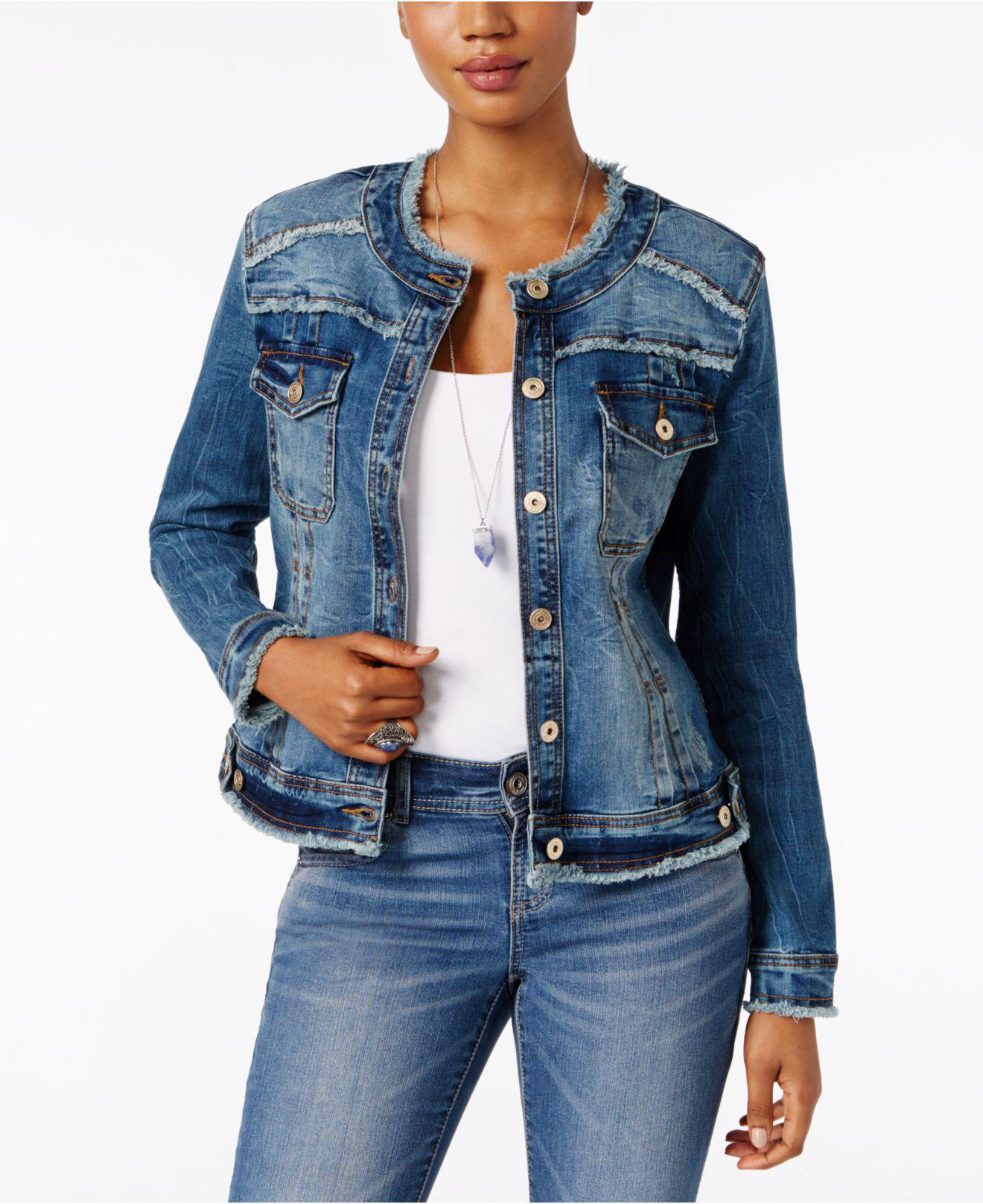 Inc International Concepts Frayed Denim Jacket In Blue Lyst