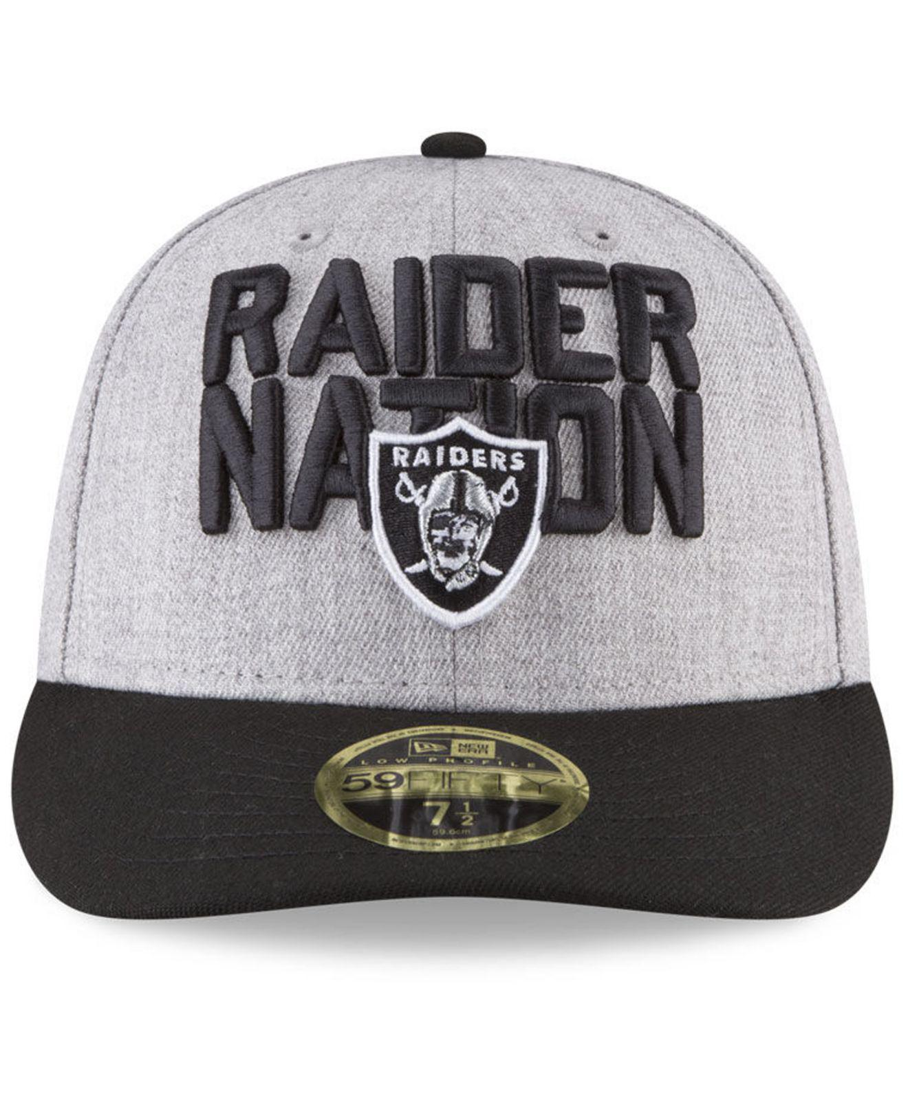 detailed pictures 9256b 8b6f9 Lyst - KTZ Oakland Raiders Draft Low Profile 59fifty Fitted Cap in Black  for Men