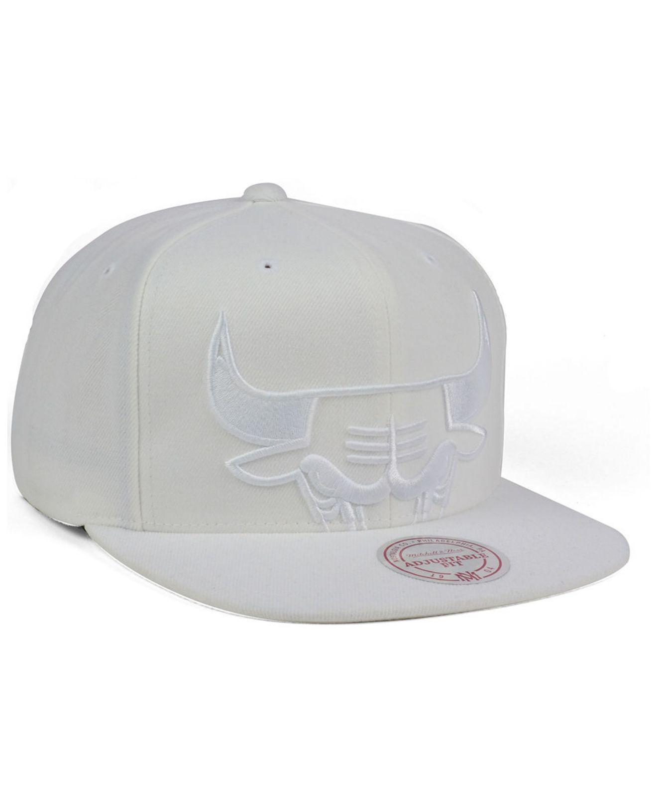 b23114b87ba ... australia mitchell ness white chicago bulls cropped xl logo snapback  cap for men lyst. view