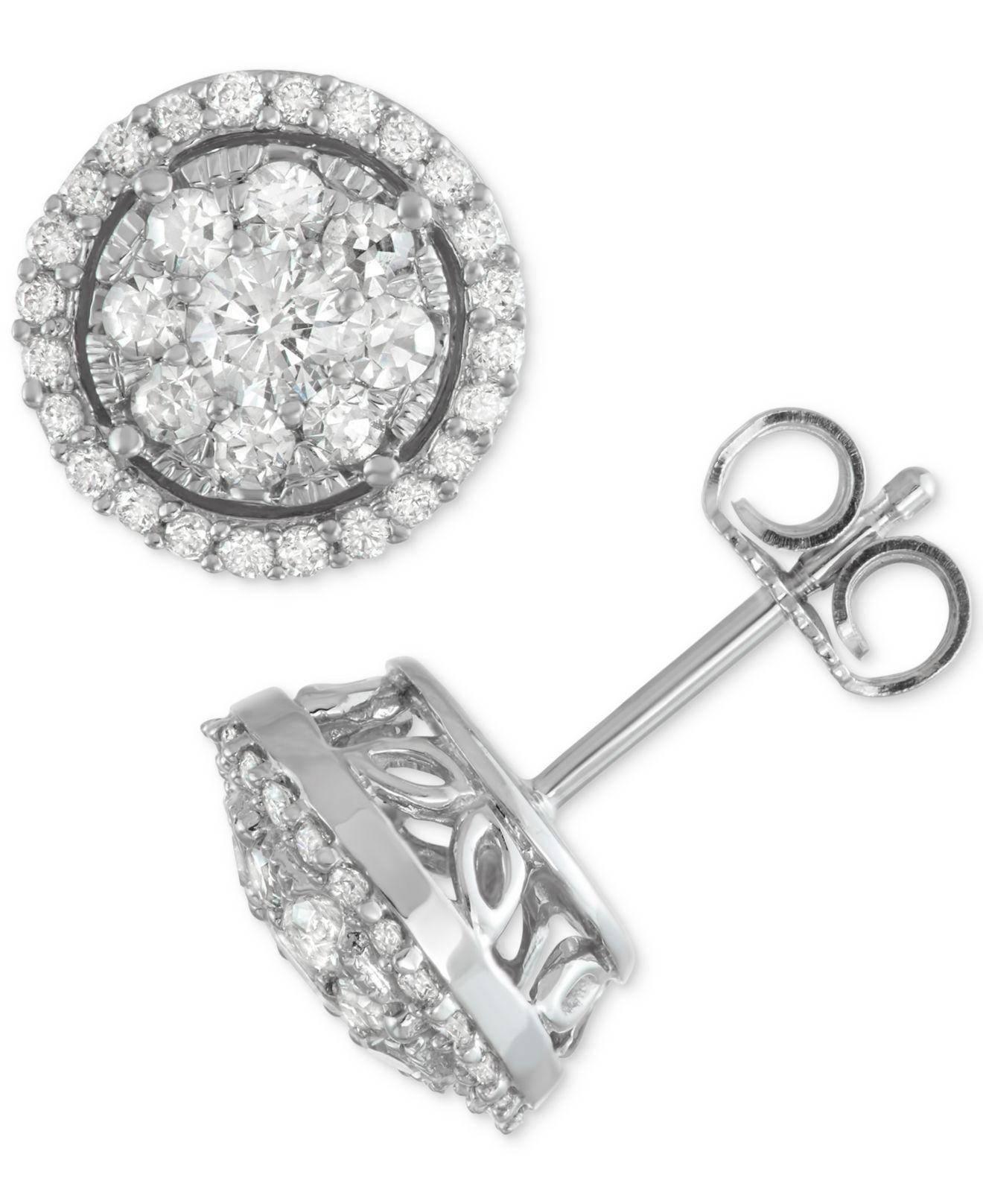 5f87bdfa872 Macy s. Women s Metallic Diamond Cluster Halo Stud Earrings (1 Ct. T.w.) In 14k  White Gold