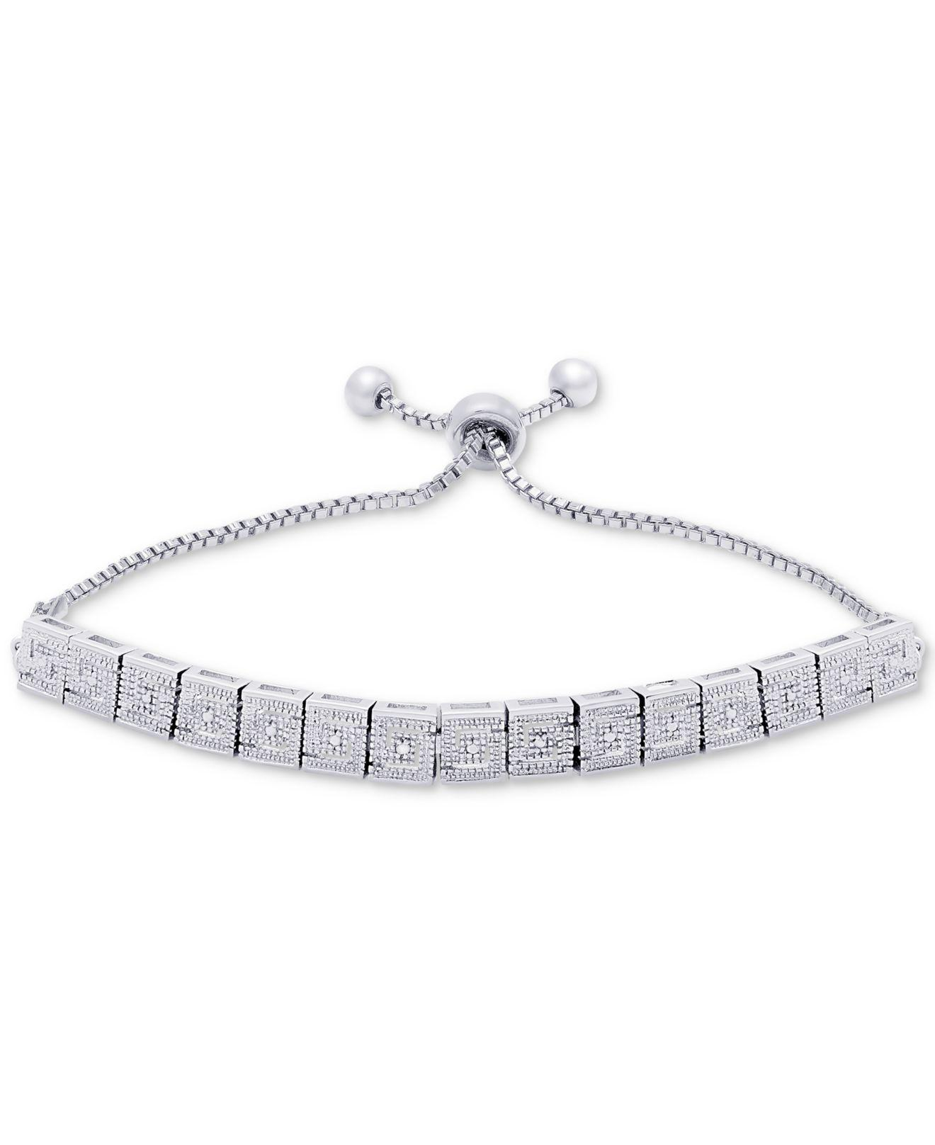 silver plate metallic lyst designer diamond jewelry macy s women bracelet panther accent in macys link