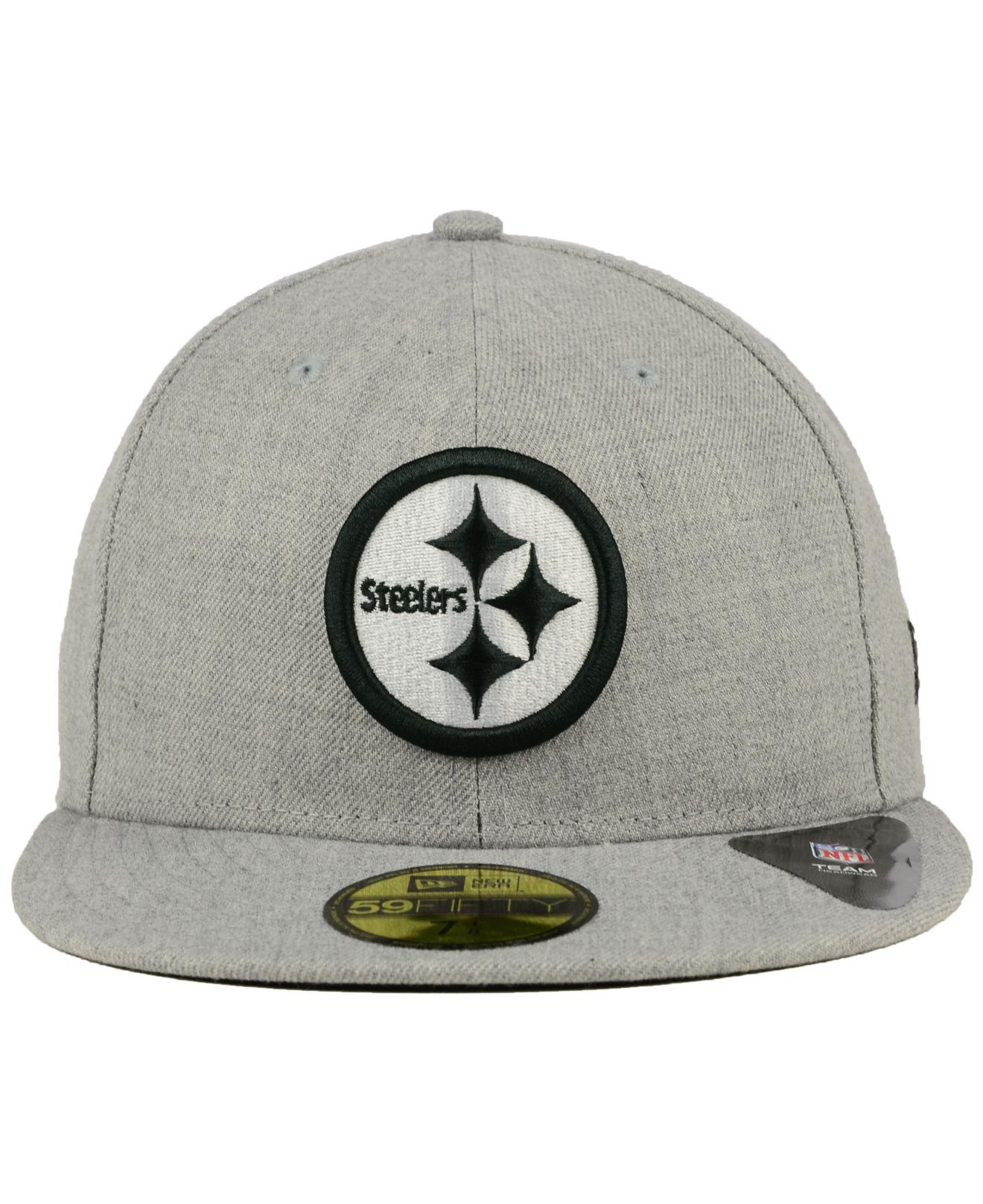 72184ab0b7d Lyst - Ktz Pittsburgh Steelers Heather Black White 59fifty Cap in Gray for  Men