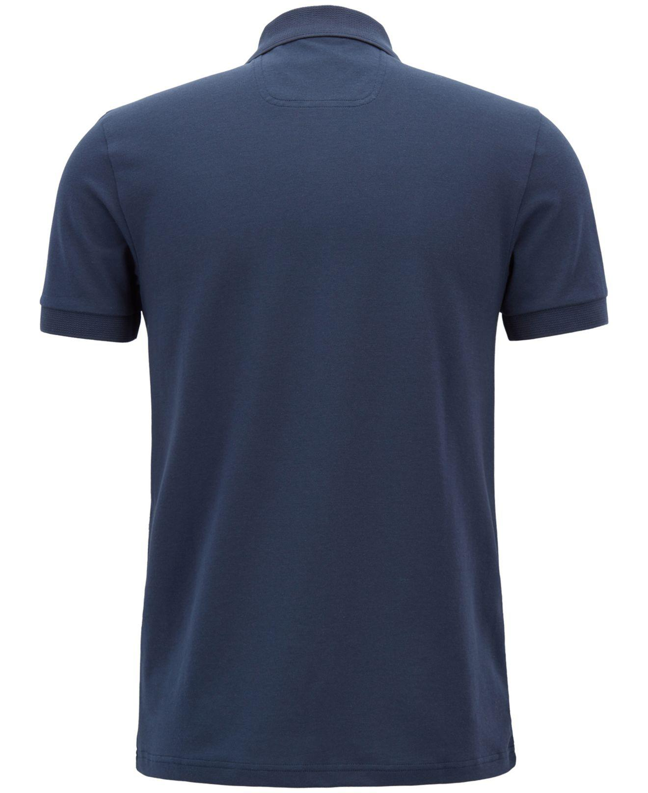 Hugo Boss Style Mens Short Sleeve Striped Custom Fit Polo Shirt Blue Anchor
