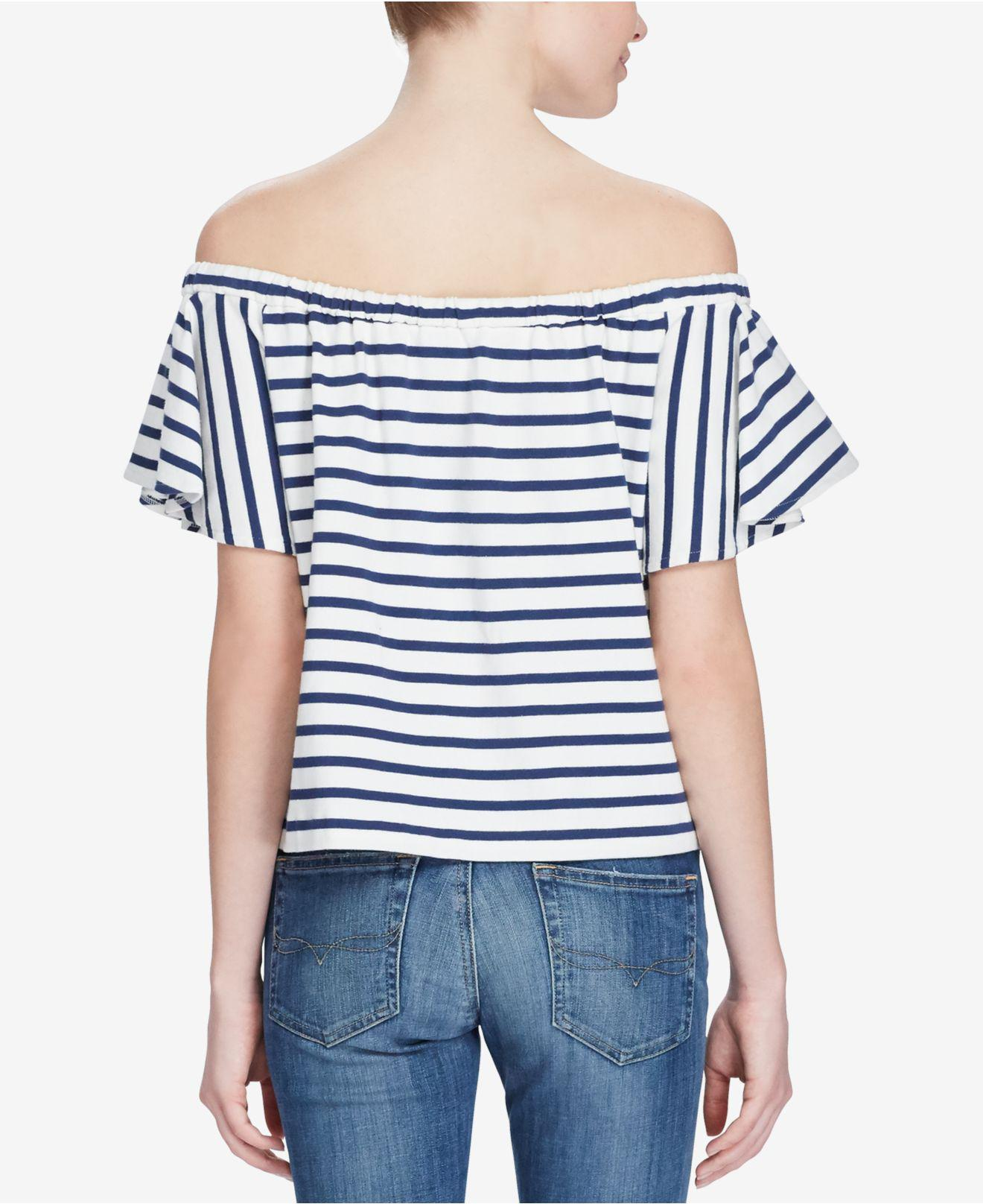 7daed4f5d8b339 Lyst - Polo Ralph Lauren Striped Off-the-shoulder Top in Blue