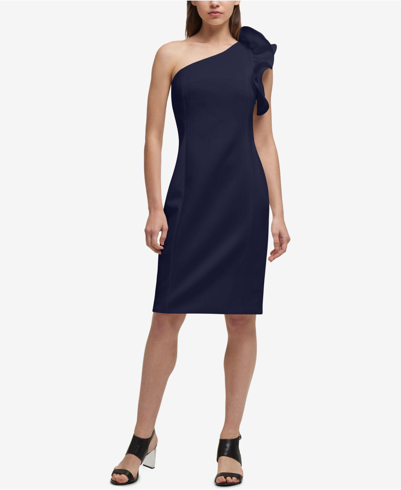 Lyst - Dkny One-shoulder Sheath Dress, Created For Macy\'s in Blue